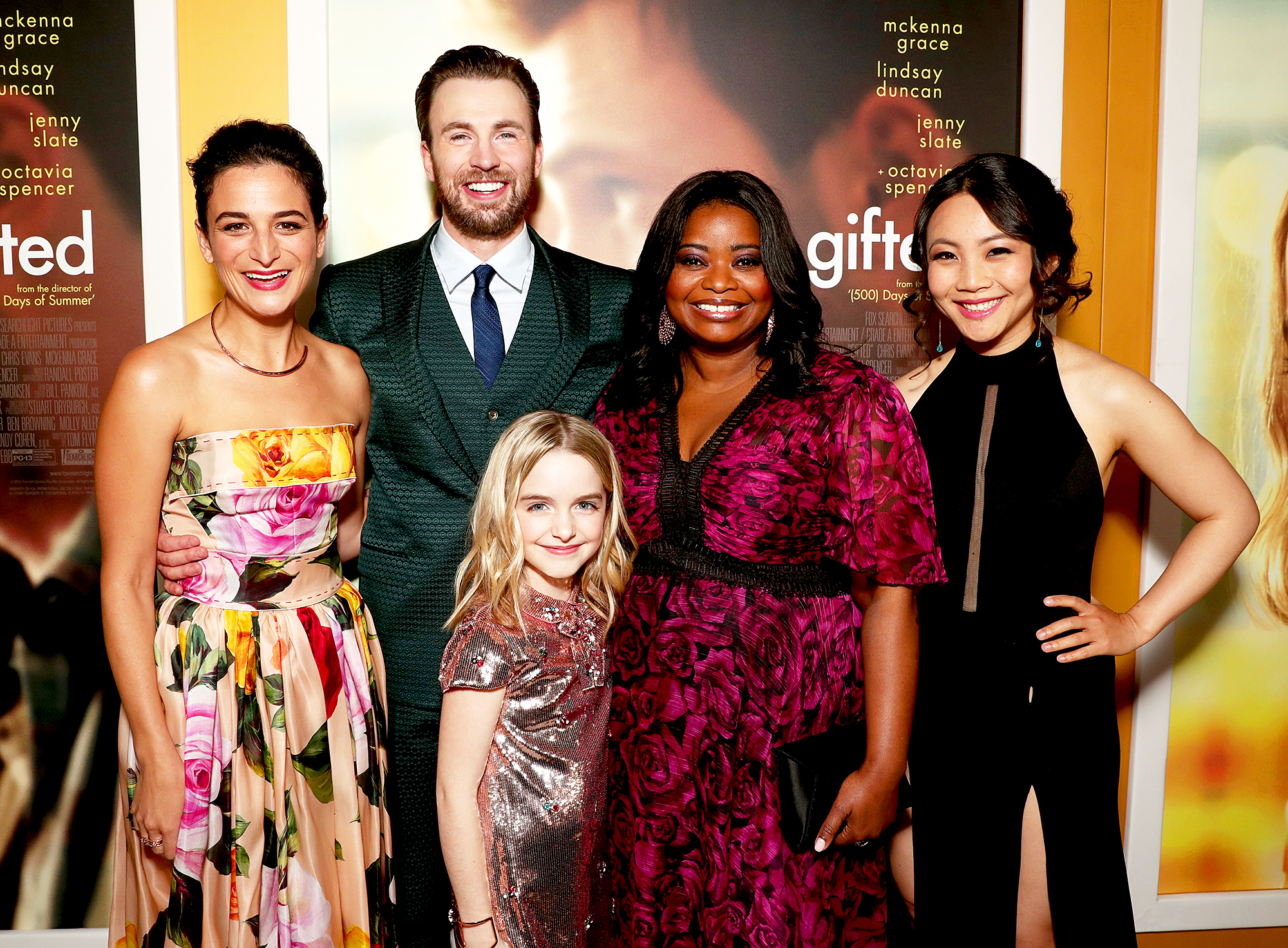 Jenny Slate, Chris Evans, Mckenna Grace, Octavia Spencer, and Jona Xiao