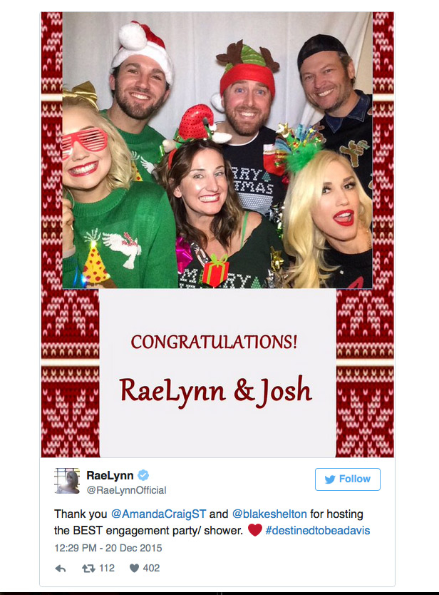 Blake Shelton Gwen Stefani - Right before the 2015 holidays, the couple jetted out of L.A. together to attend the engagement party of former Voice contestant RaeLynn Woodward . Snaps from the bash showed ugly sweater–clad Stefani and Shelton (who mentored the bride-to-be) having a blast in a photo booth with guests.