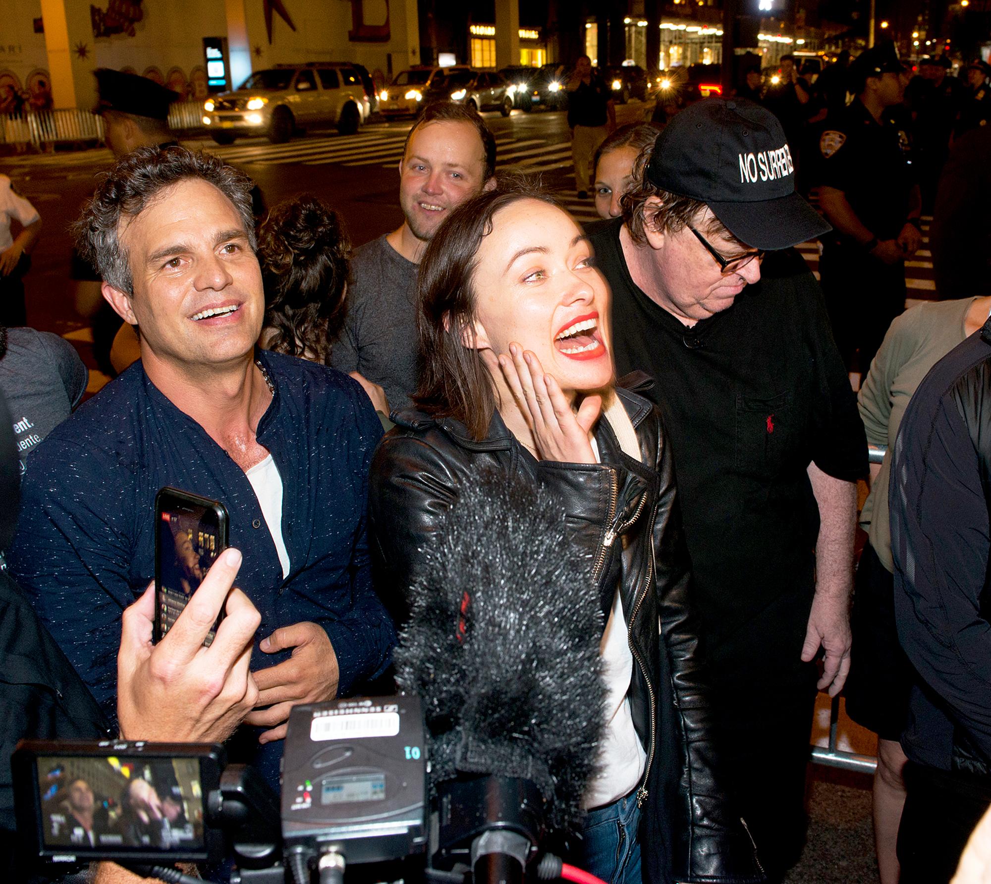 Mark Ruffalo, Olivia Wilde and Michael Moore
