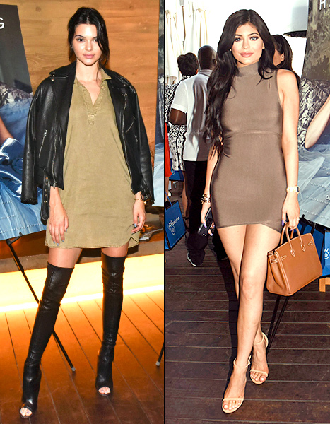 Kendall and Kylie Jenner - split outfits