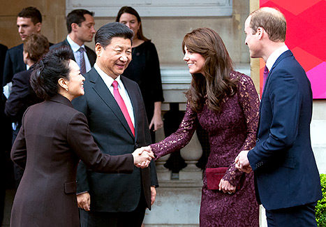 Prince William and Kate Middleton greet Chinese President Xi Jinping and Peng Liyuan