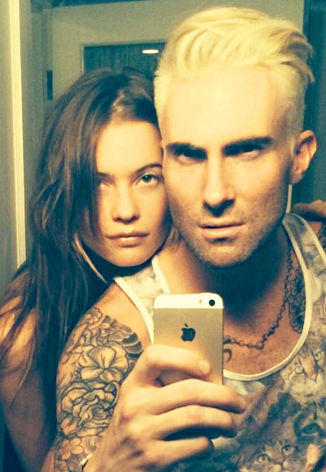 Adam Levine and Behati Prinsloo Blonde Hair