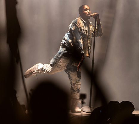 Kanye West performs