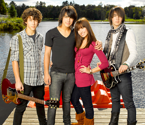 Nick Jonas, Joe Jonas, Demi Lovato and Kevin Jonas in Camp Rock
