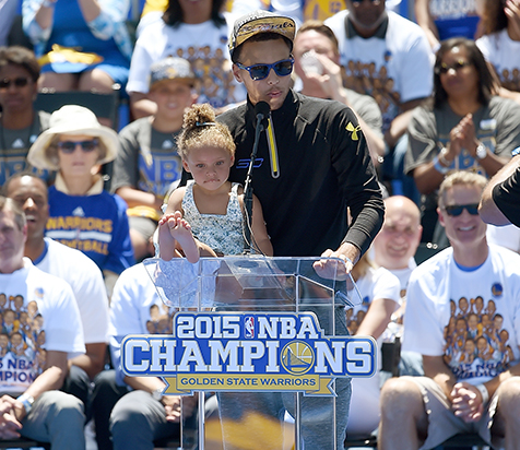 Stephen Curry's Daughter Riley Rides Float at Warriors Parade: Photos!