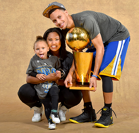 Ayesha Curry, Riley Curry and Stephen Curry
