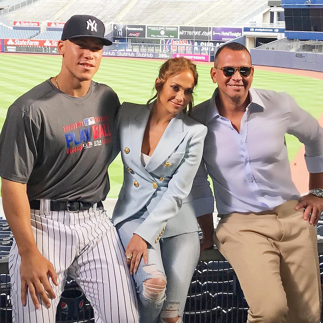 Aaron Judge, Jennifer Lopez and Alex Rodriguez