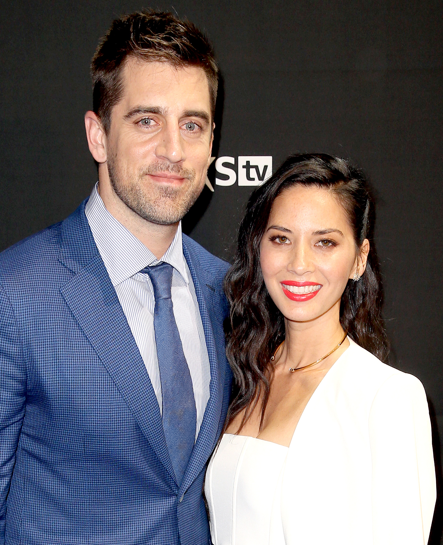 Aaron Rodgers and Olivia Munn attend the DirecTV and Pepsi Super Saturday Night featuring Red Hot Chili Peppers at Pier 70 on February 6, 2016 in San Francisco, California.