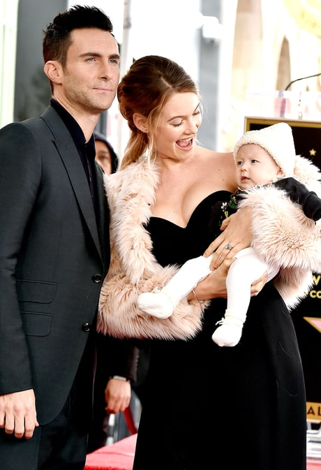 Adam Levine and Behati Prinsloo make their first public appearance with daughter, Dusty.