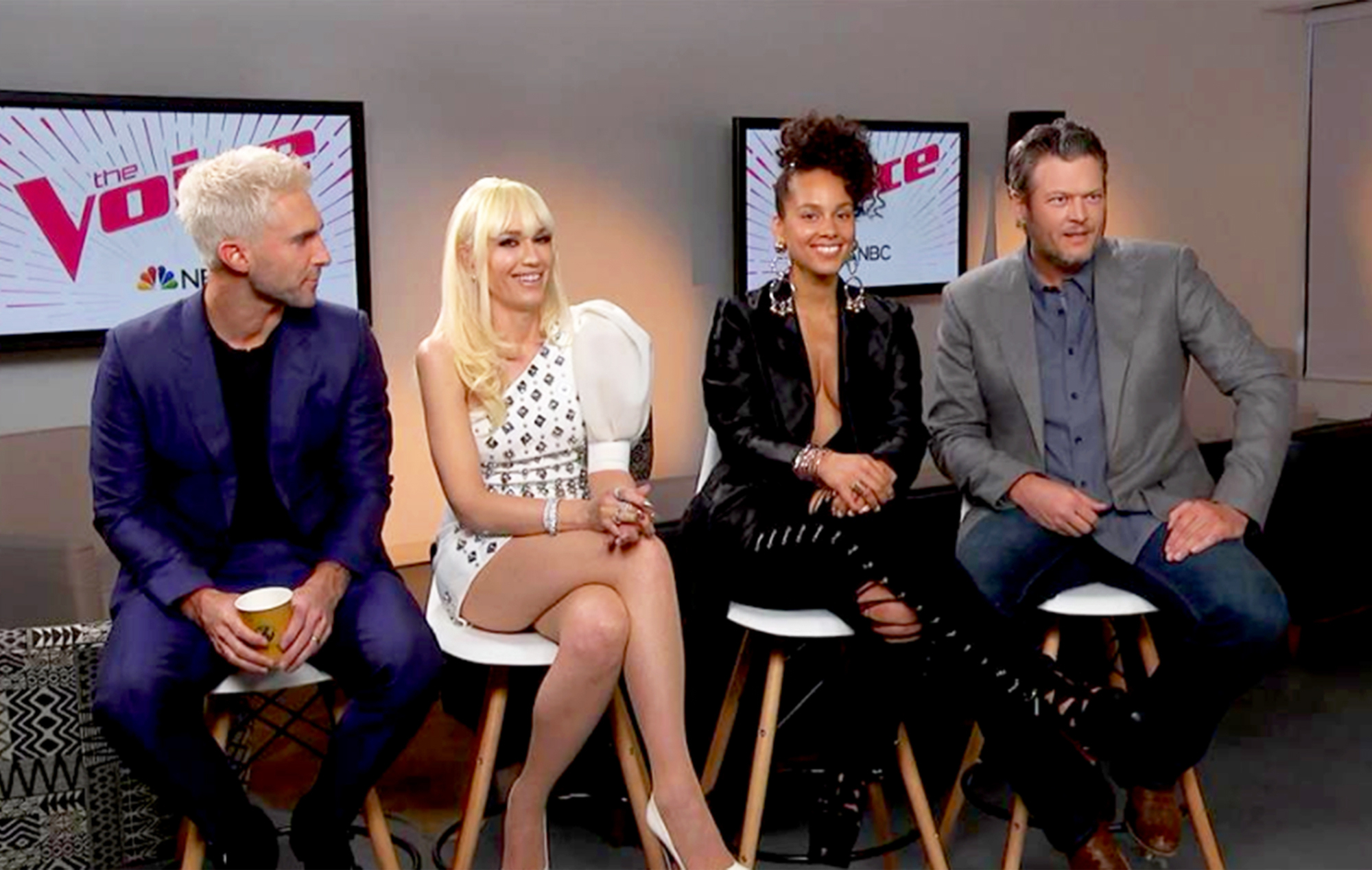 The Voice Adam Levine, Gwen Stefani, Alicia Keys and Blake Shelton.