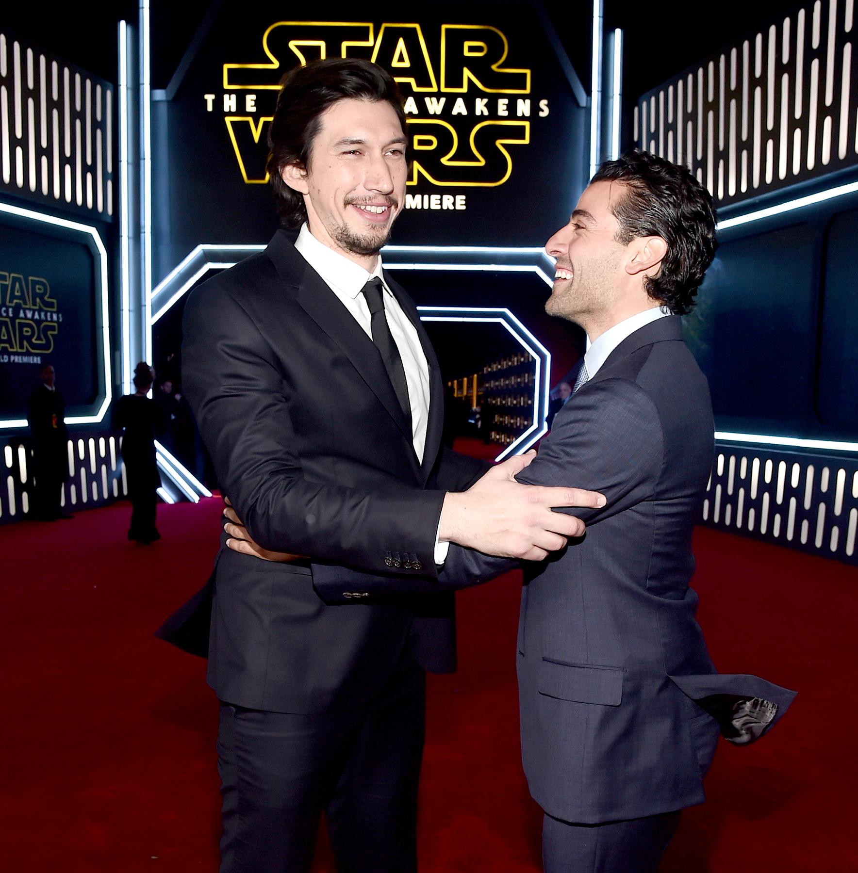 Adam Driver and Oscar Isaac attend the world premiere of