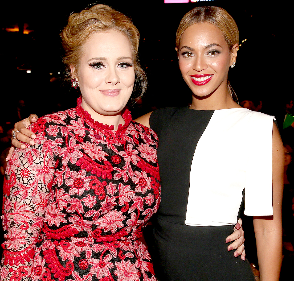 Adele (left) and Beyoncé attend the 55th Annual Grammy Awards at Staples Center on Feb. 10, 2013, in Los Angeles.