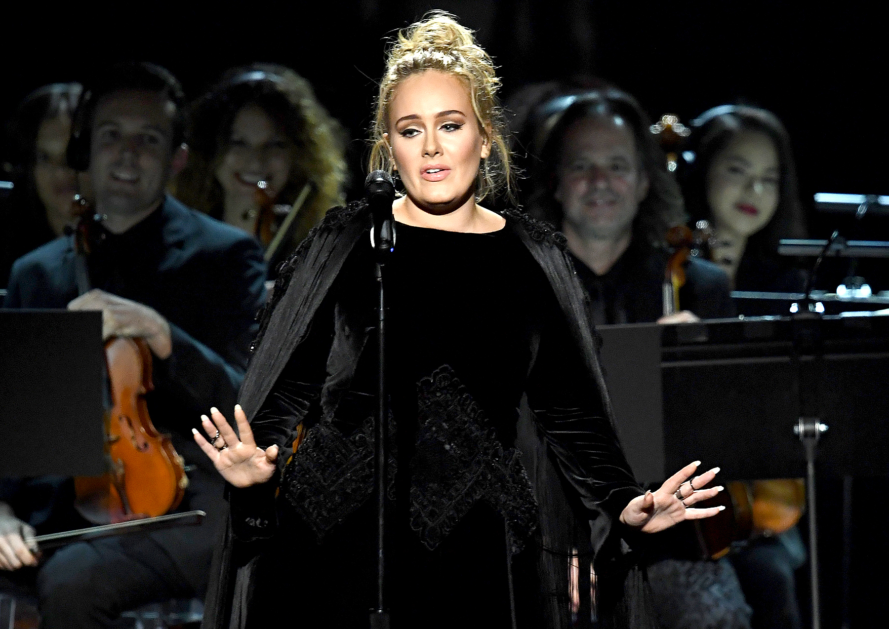 Adele performs onstage during The 59th GRAMMY Awards at STAPLES Center on February 12, 2017 in Los Angeles, California.