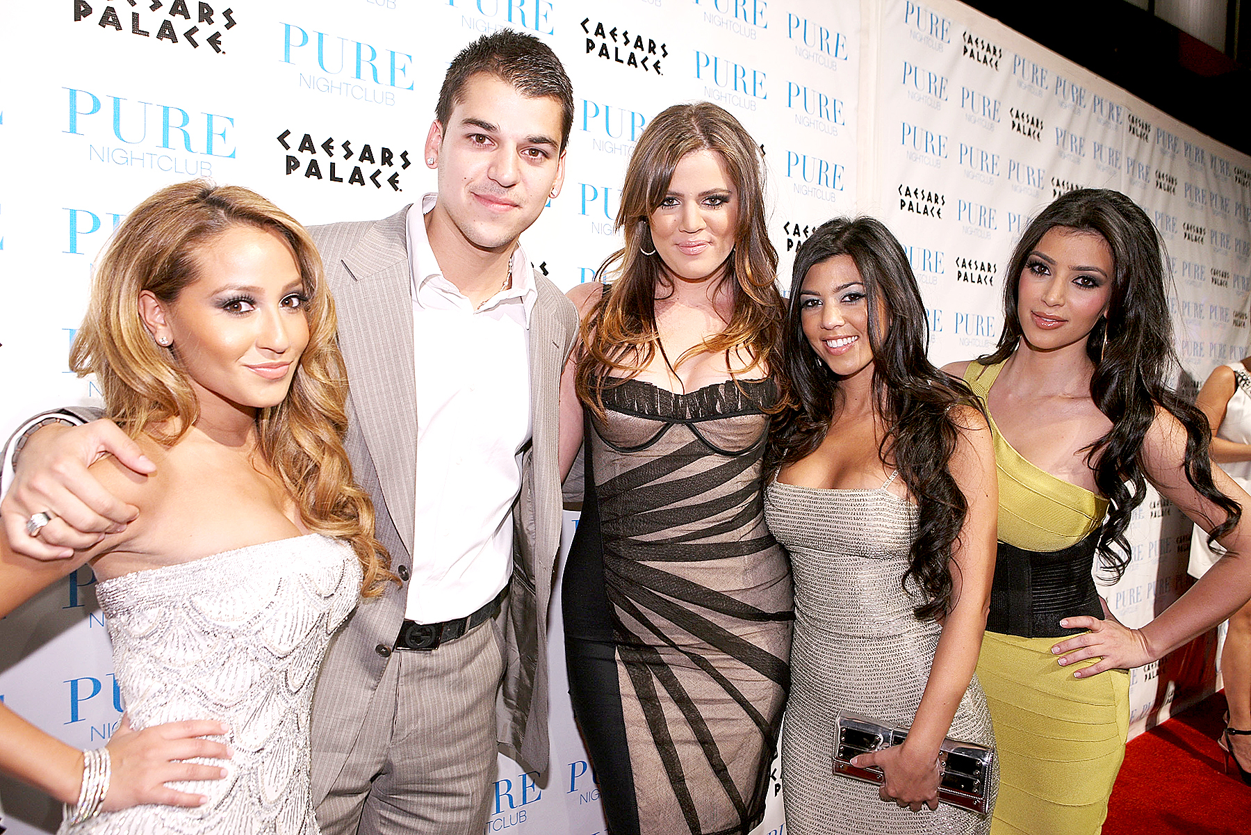 Adrienne Bailon, Robert Kardashian, Khloé Kardashian, Kourtney Kardashian and Kim Kardashian (from left) attend PURE Nightclub for Khloé Kardashian's birthday on June 27, 2008 in Las Vegas, NV.