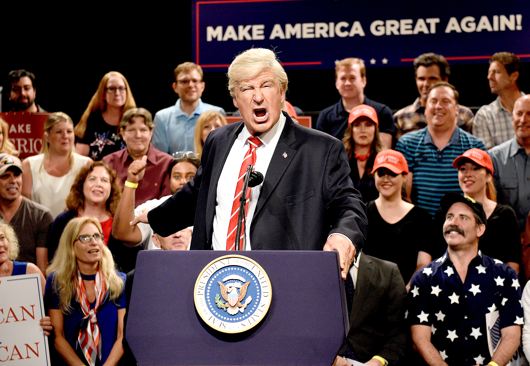 """Alec Baldwin as President Donald Trump during a """"Trump Phoenix Rally"""" on August 24, 2017."""