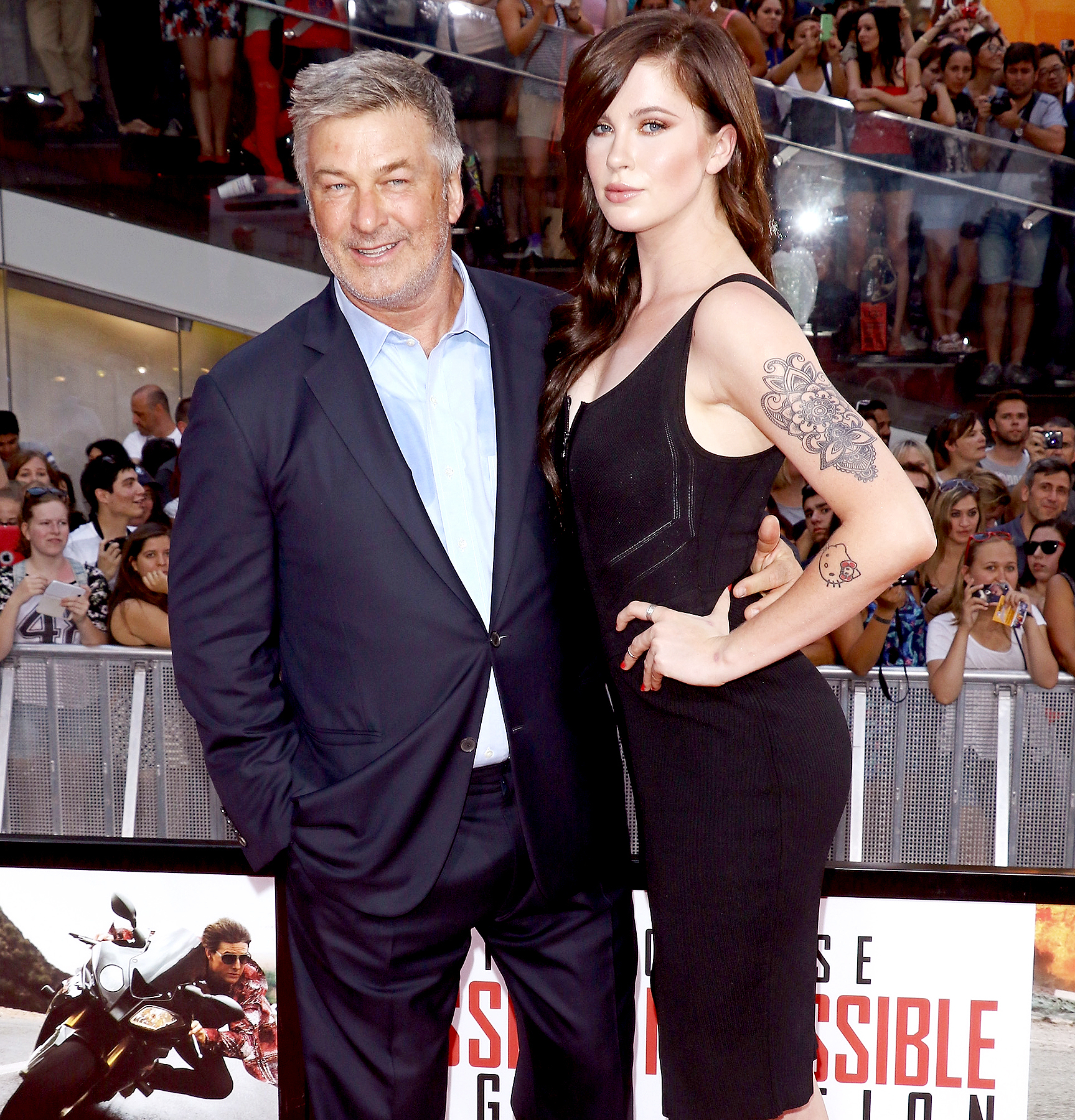 "Alec Baldwin and daughter Ireland Baldwin attend the ""Mission Impossible: Rogue Nation"" New York premiere at Times Square on July 27, 2015 in New York City."