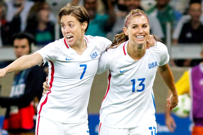 Alex Morgan of the United States celebrates a scored goal during the Women's Group G first-round match between the United States and New Zealand during the Rio 2016 Olympic Games at Mineirao Stadium on August 3, 2016, in Belo Horizonte, Brazil.