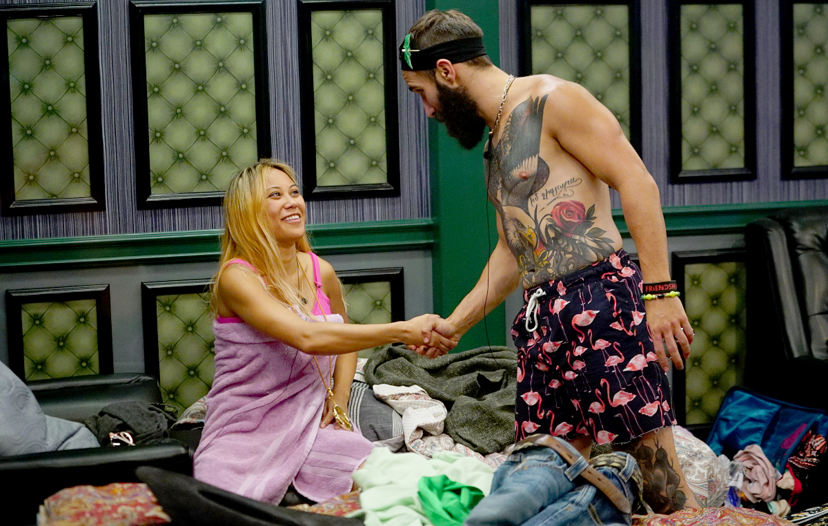"Paul Abrahamian contatulates Alex Ow one winning the Veto Competition - ""Fin to Win"" on Season 19 of Big Brother."