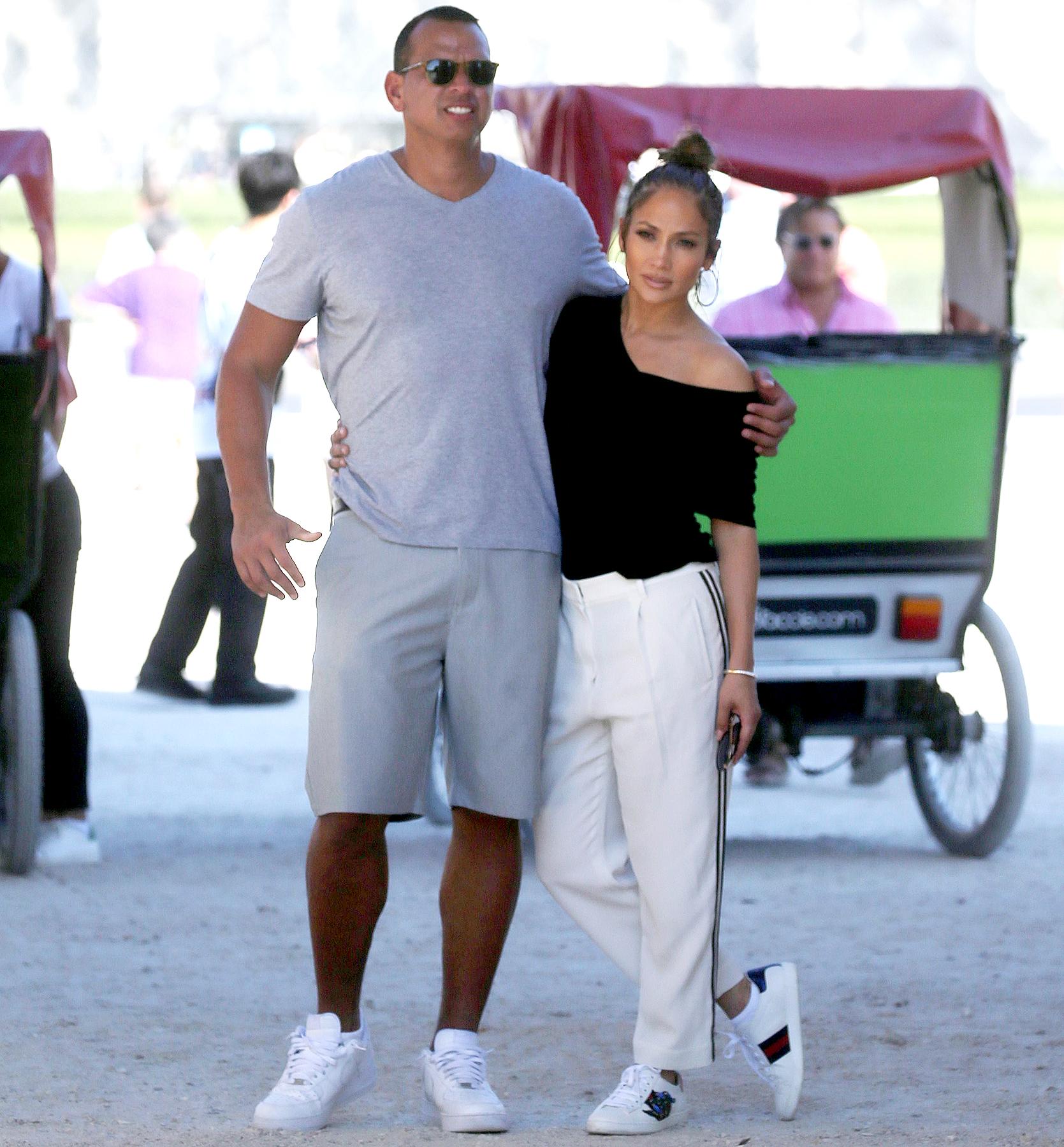 Jennifer Lopez and Alex Rodriguez take a stroll in Paris on June 18, 2017.