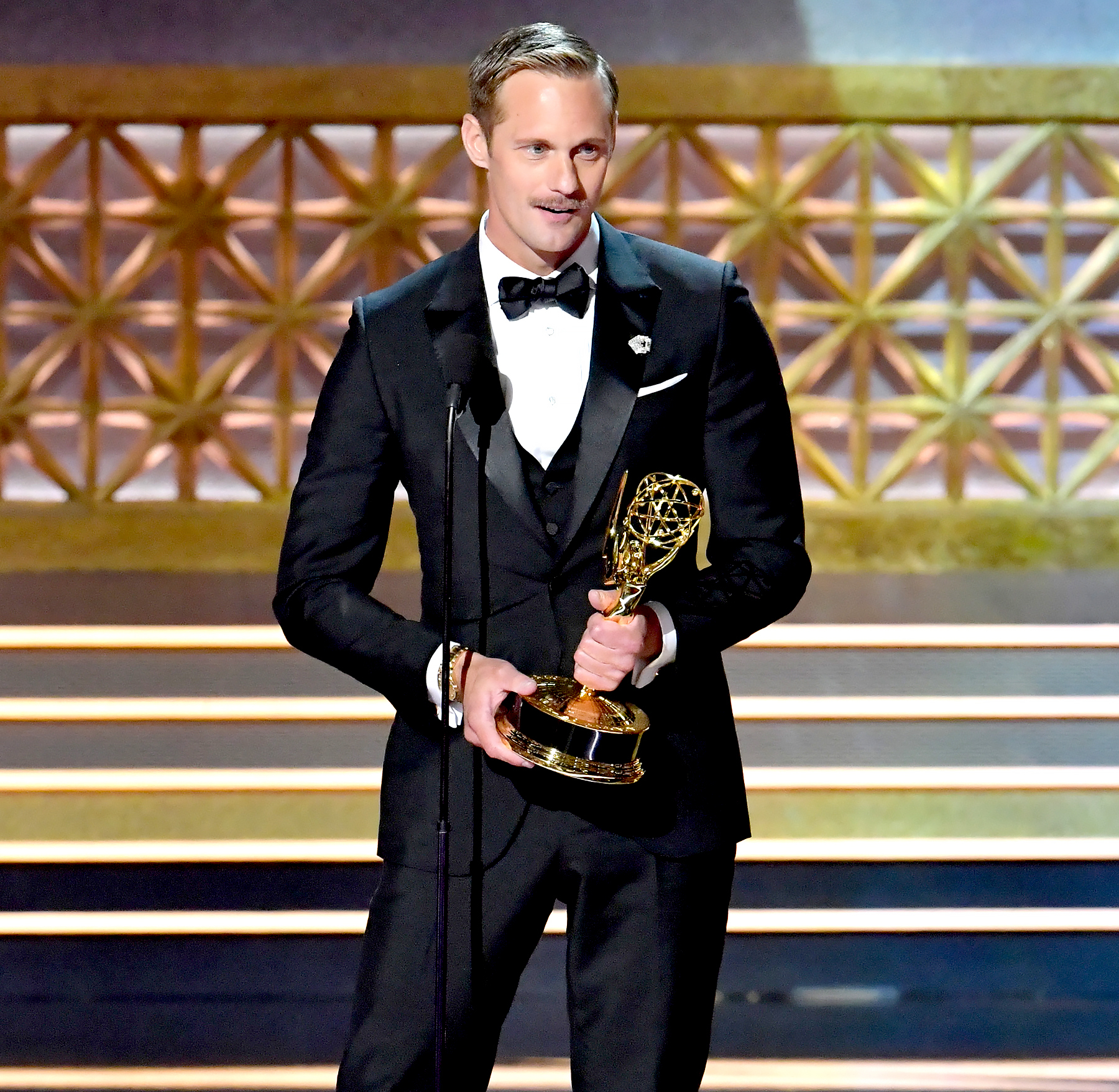 Alexander Skarsgard accepts the Outstanding Supporting Actor in a Limited Series or Movie award for 'Big Little Lies' onstage during the 69th Annual Primetime Emmy Awards at Microsoft Theater on September 17, 2017 in Los Angeles, California.