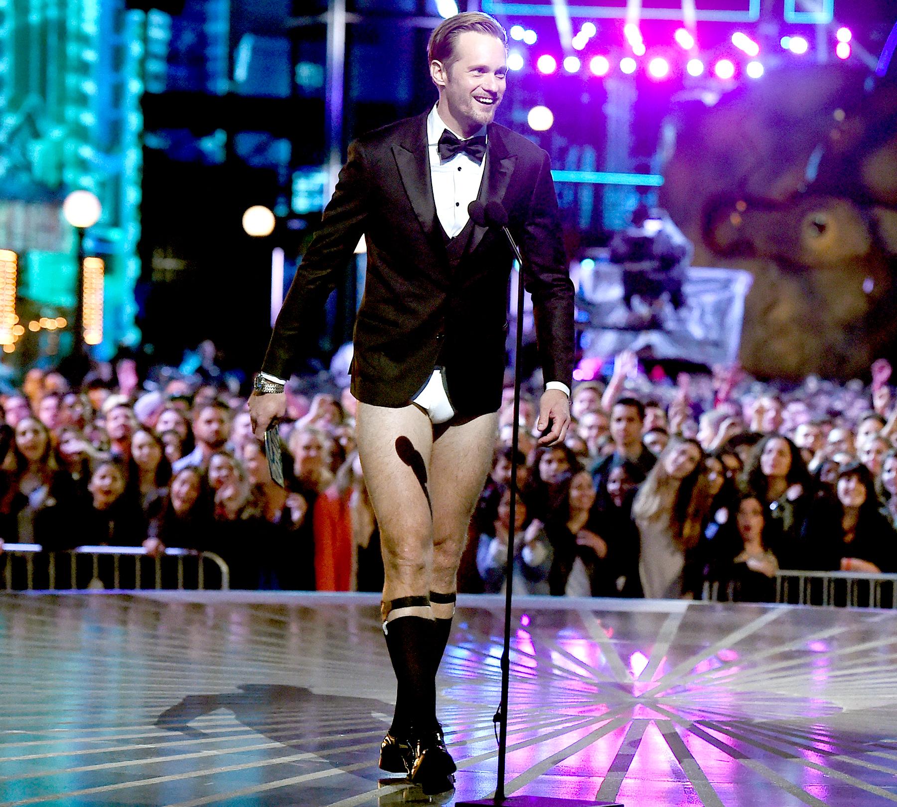 Alexander Skarsgard speaks onstage during the 2016 MTV Movie Awards.