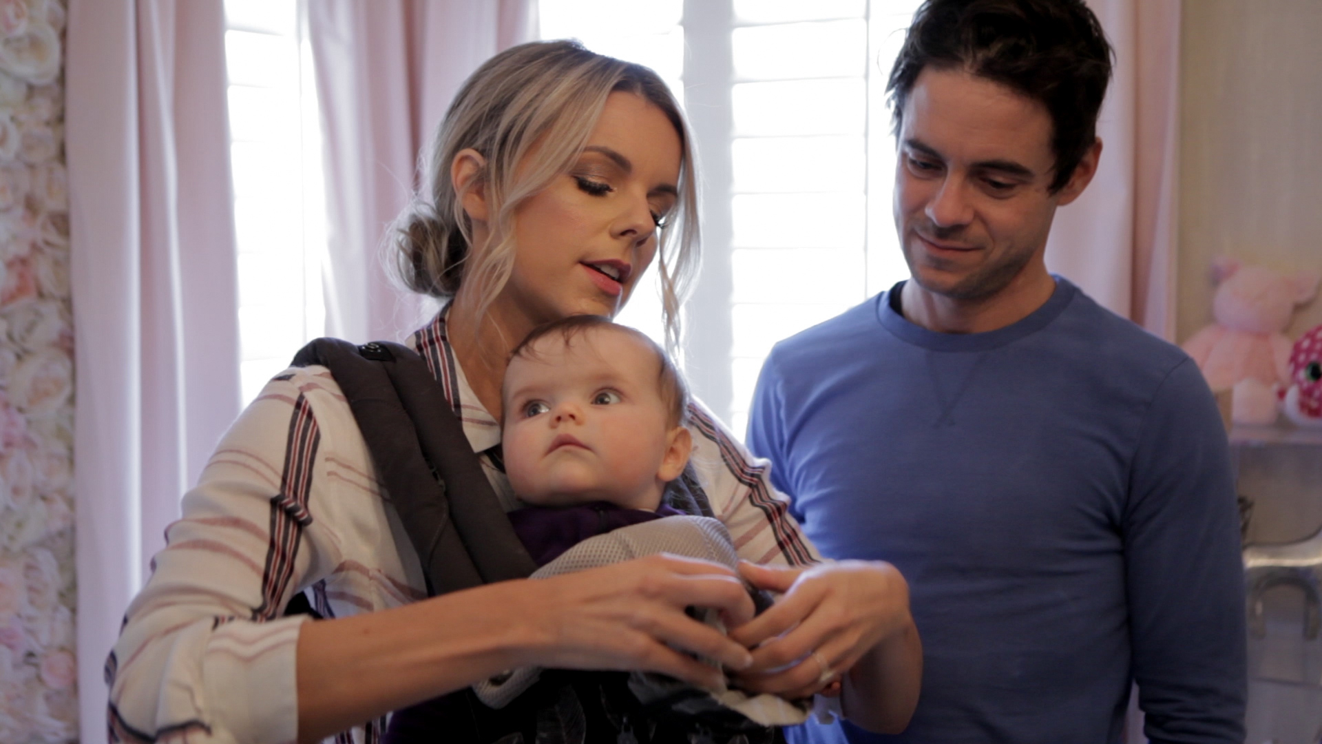 Ali Fedotowsky and fiancé Kevin Manno with baby Molly