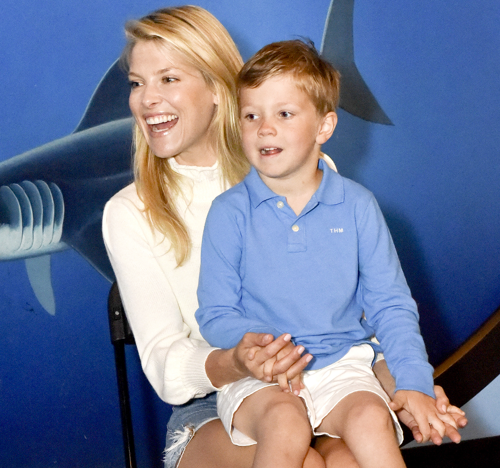 Ali Larter and son Teddy at Heal the Bay's Santa Monica Pier Aquarium for a story reading on June 4, 2016 in Santa Monica.