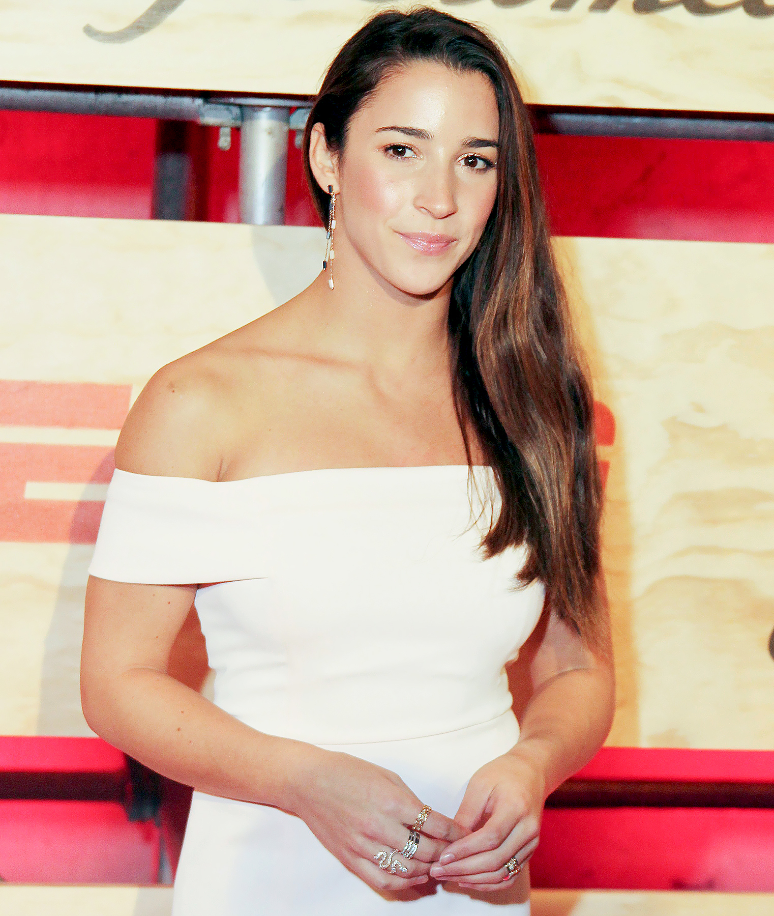 Aly Raisman arrives on the red carpet at 2017 ESPN: The Party, before the Super Bowl in Houston, Texas February 3, 2017.