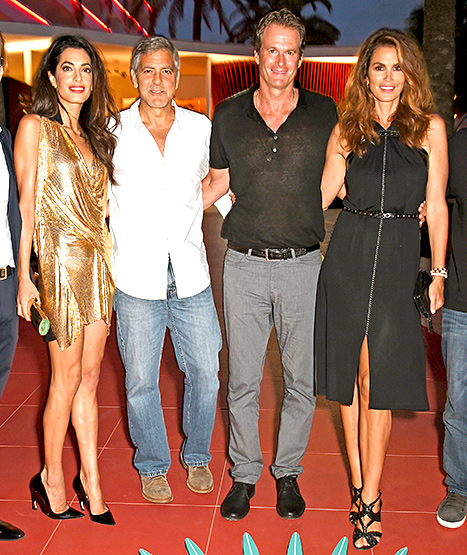 Amal Alamuddin, George Clooney, Rande Gerber and Cindy Crawford