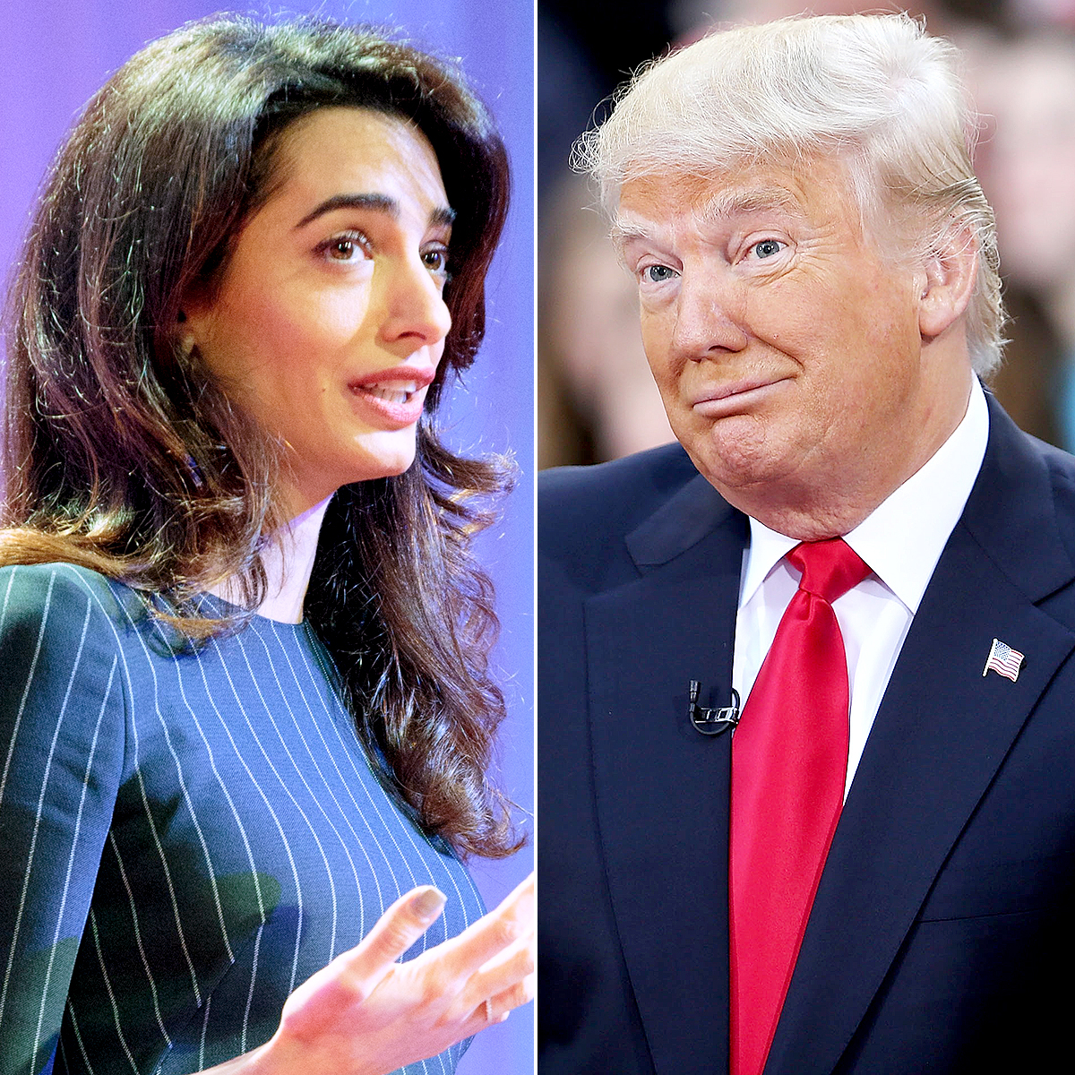 Amal Clooney addresses the Texas Conference for Women held at the Austin Convention Center on November 15, 2016 in Austin, Texas; Donald Trump appears at an NBC Town Hall at the Today Show on April 21, 2016 in New York City.