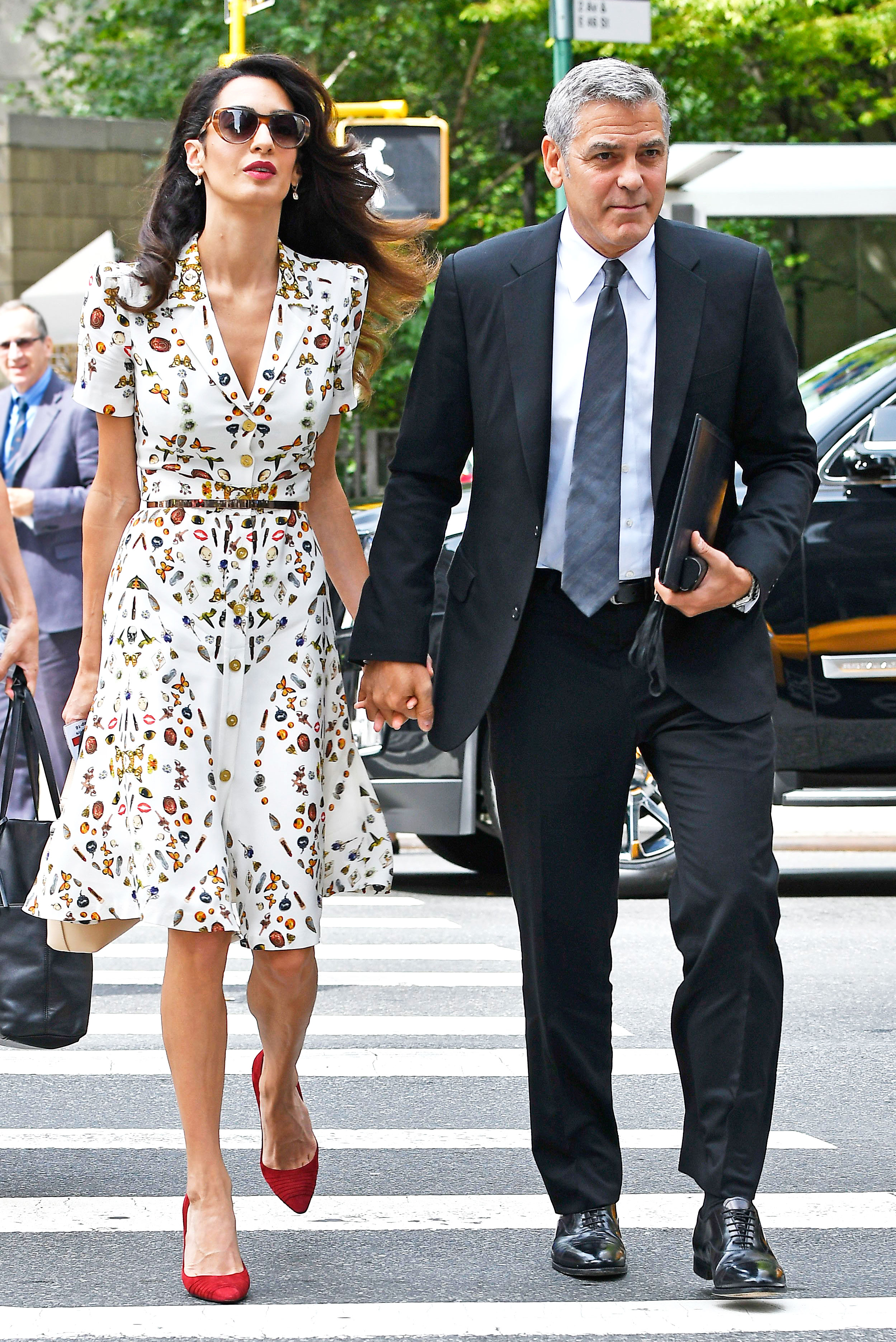 Amal Clooney Wears Whimsical Button Down Dress Street Style Photo