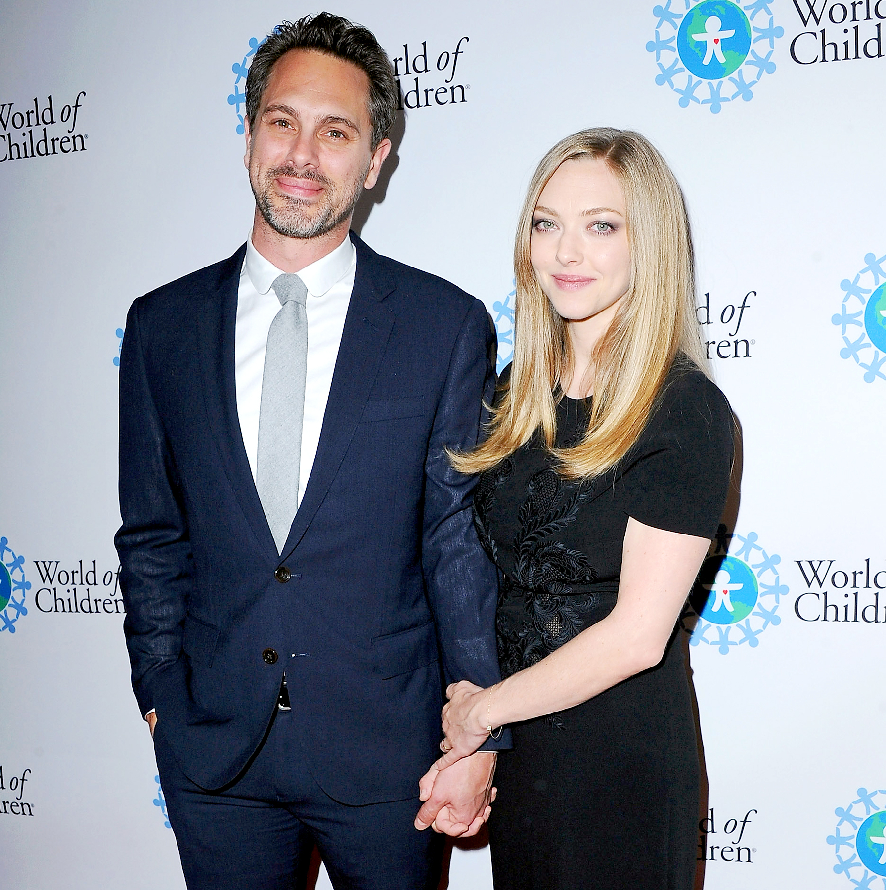 Thomas Sadoski and Amanda Seyfried arrive at the 2017 World Of Children Hero Awards at Montage Beverly Hills on April 19, 2017 in Beverly Hills, California.