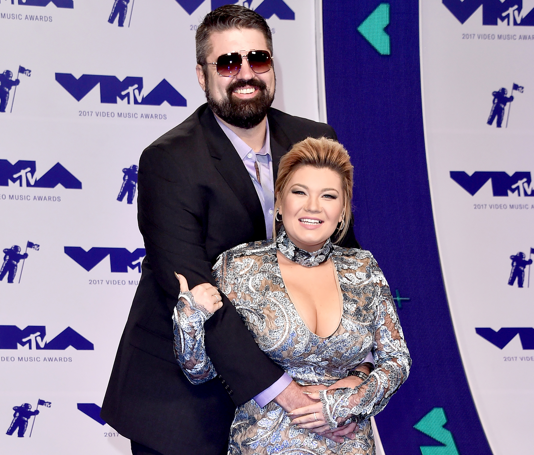 Andrew Glennon (L) and Amber Portwood attend the 2017 MTV Video Music Awards at The Forum on August 27, 2017 in Inglewood, California.