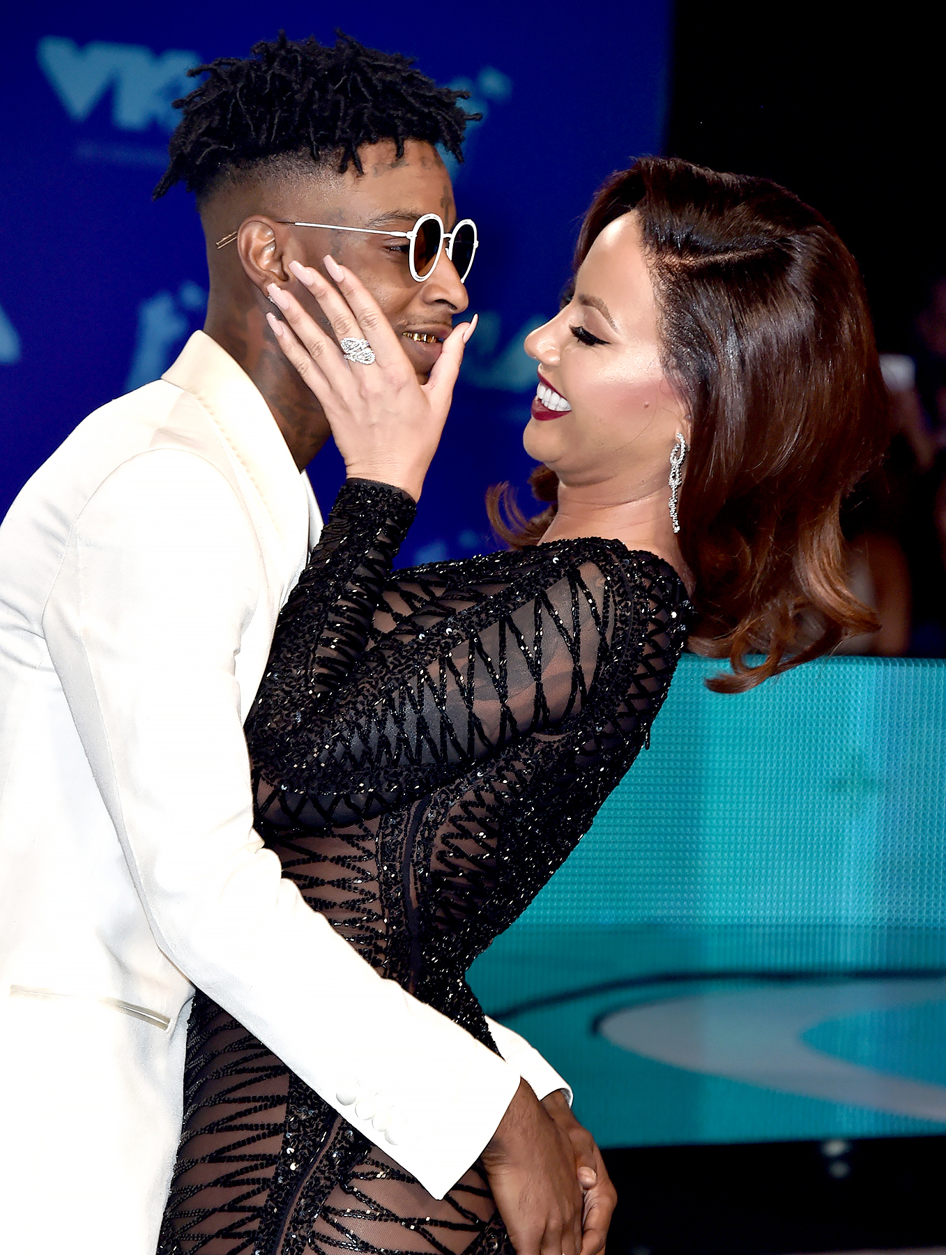21 Savage and Amber Rose attend the 2017 MTV Video Music Awards at The Forum on August 27, 2017 in Inglewood, California.
