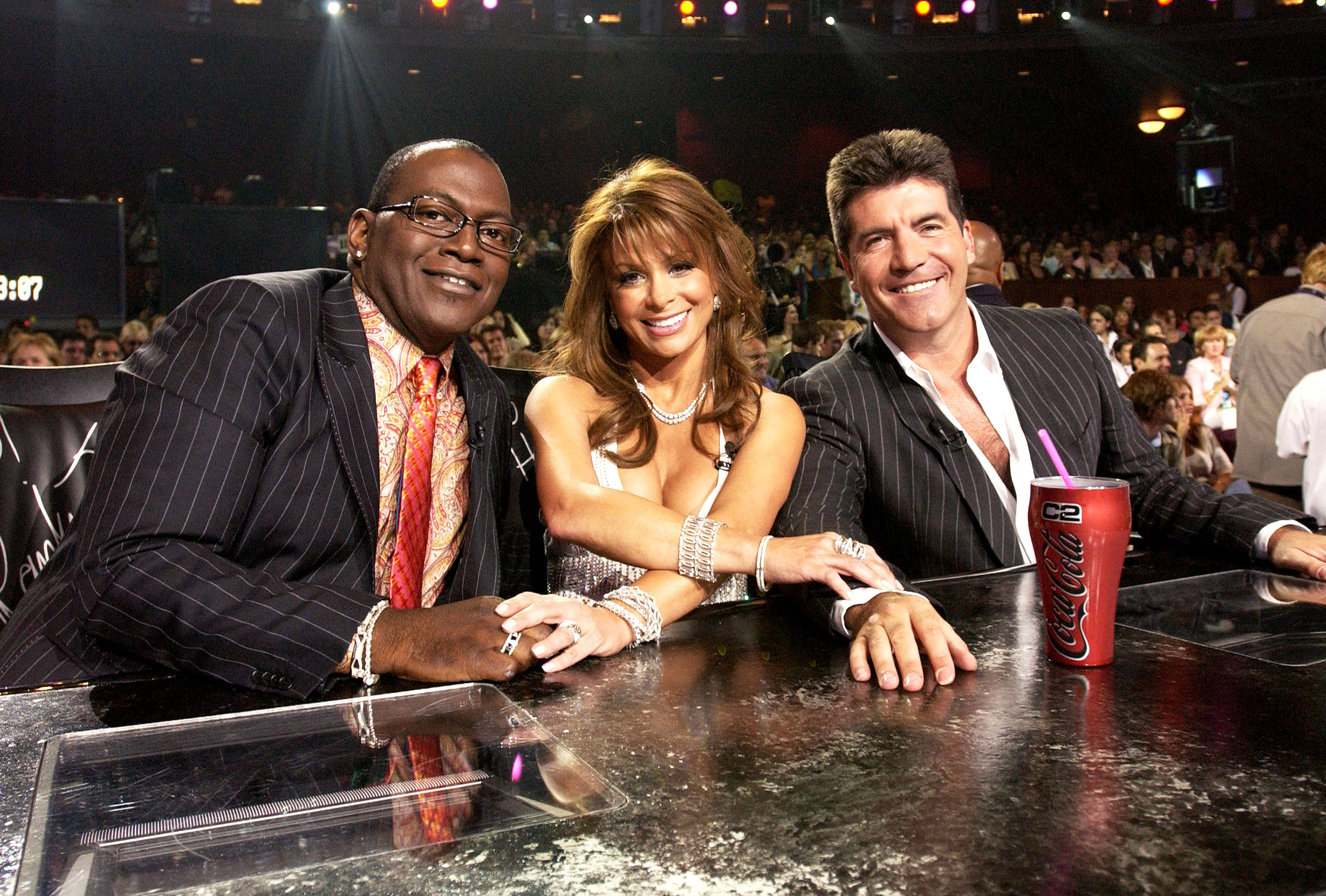 "Randy Jackson, Paula Abdul and Simon Cowell during ""American Idol"" Season 3 Finale"