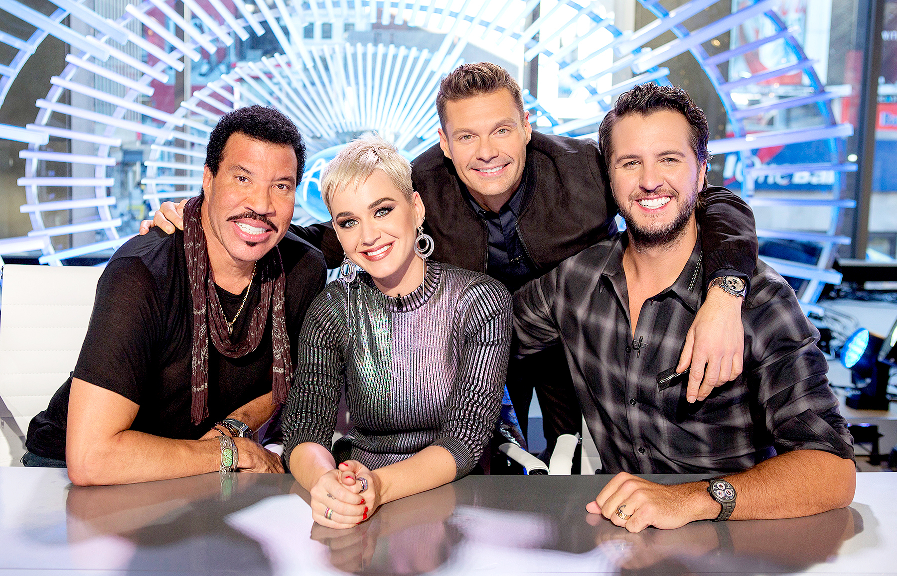"ABC's ""American Idol"" judges Lionel Richie, Katy Perry and Luke Bryan with host Ryan Seacrest. ABC/Eric Liebowitz"