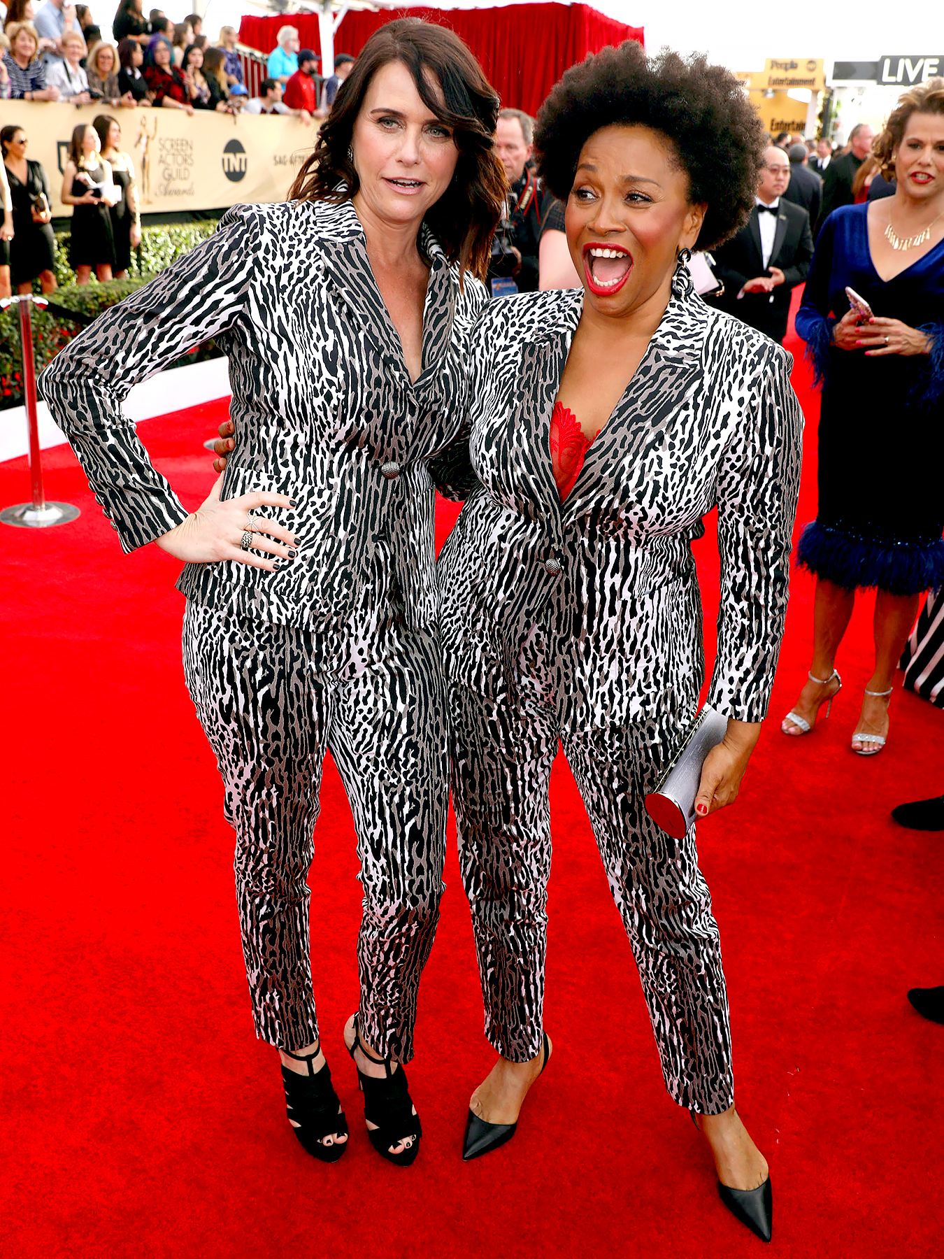 Amy Landecker, left, and Jenifer Lewis arrive at the 23rd annual Screen Actors Guild Awards at the Shrine Auditorium & Expo Hall on Sunday, Jan. 29, 2017, in Los Angeles.
