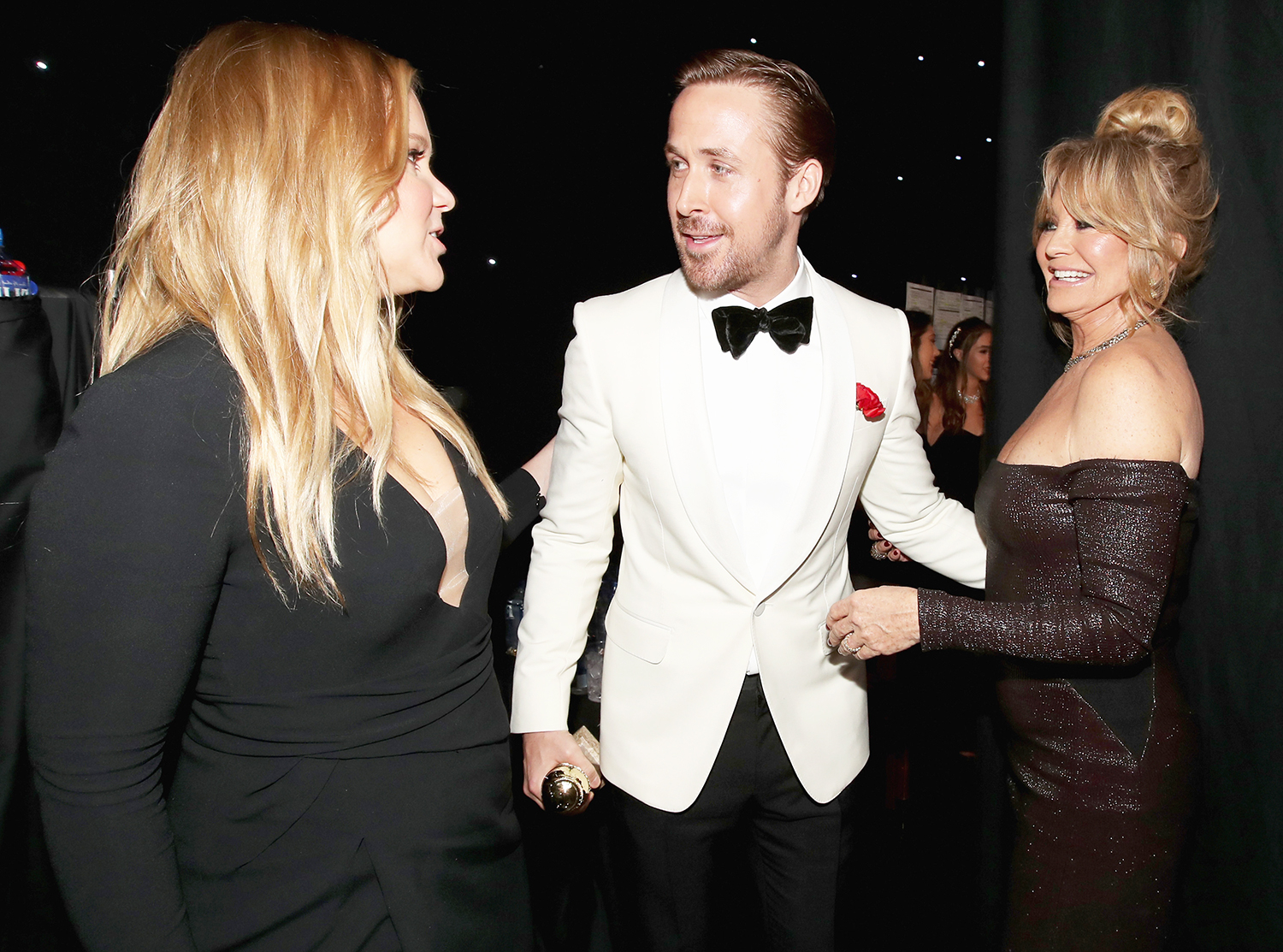 Amy Schumer, Ryan Gosling and Goldie Hawn at the 74th Annual Golden Globe Awards held at the Beverly Hilton Hotel on Jan. 8, 2017.