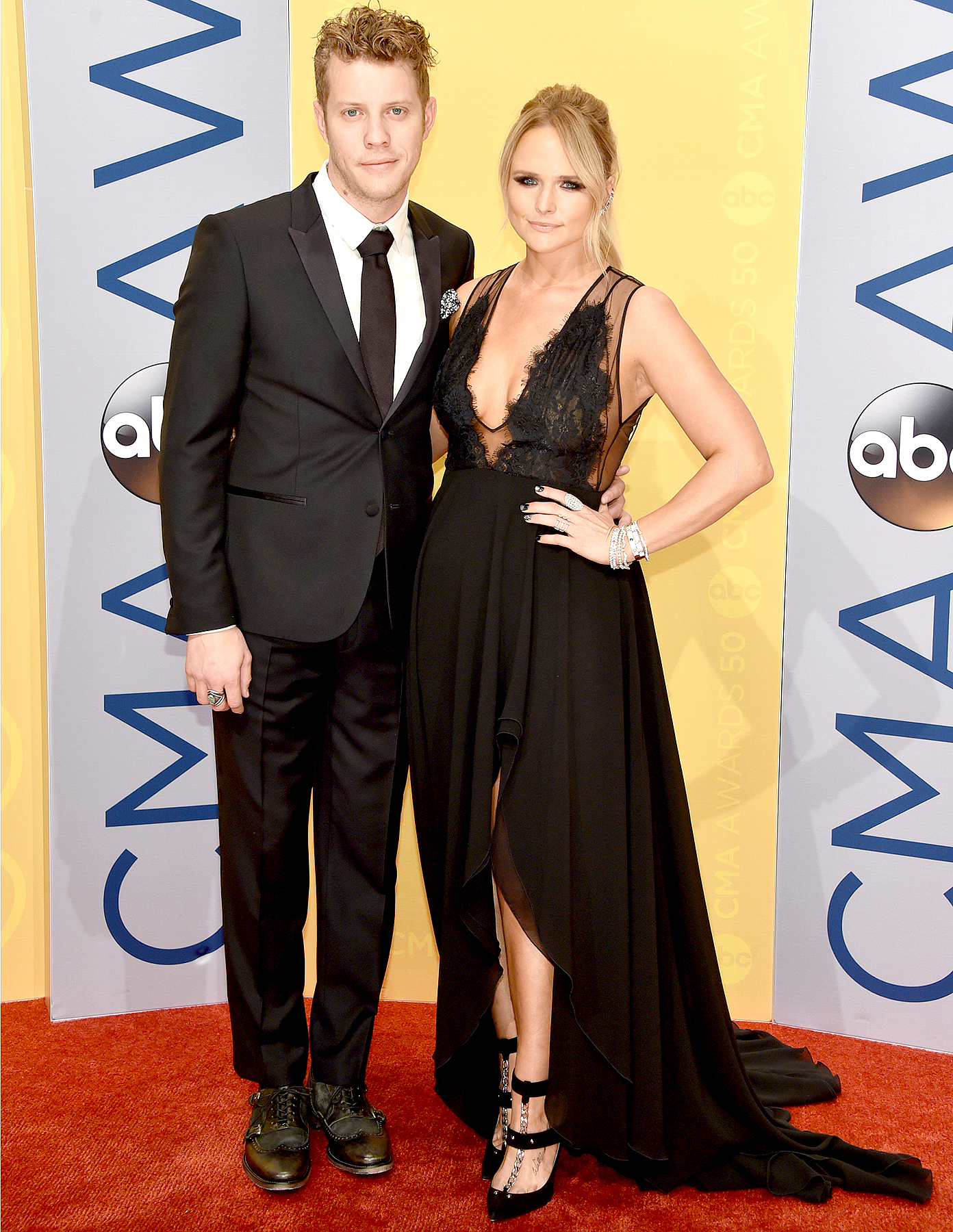 Anderson East and Miranda Lambert attend the 50th Annual CMA Awards at the Bridgestone Arena on Nov. 2, 2016, in Nashville.