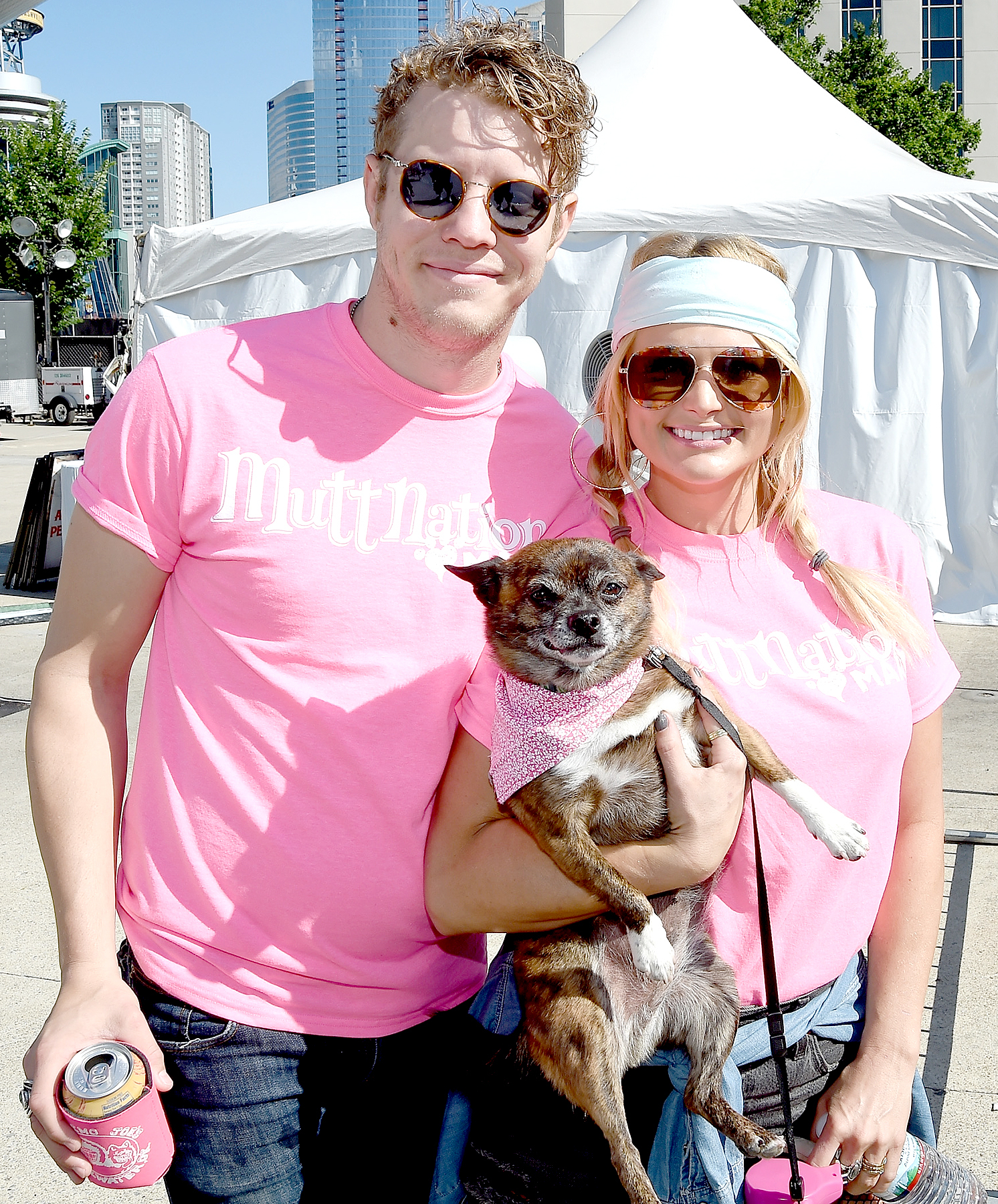 Anderson East and Miranda Lambert attend the Miranda MuttNation March at Nissan Stadium on June 8, 2017 in Nashville, Tennessee.
