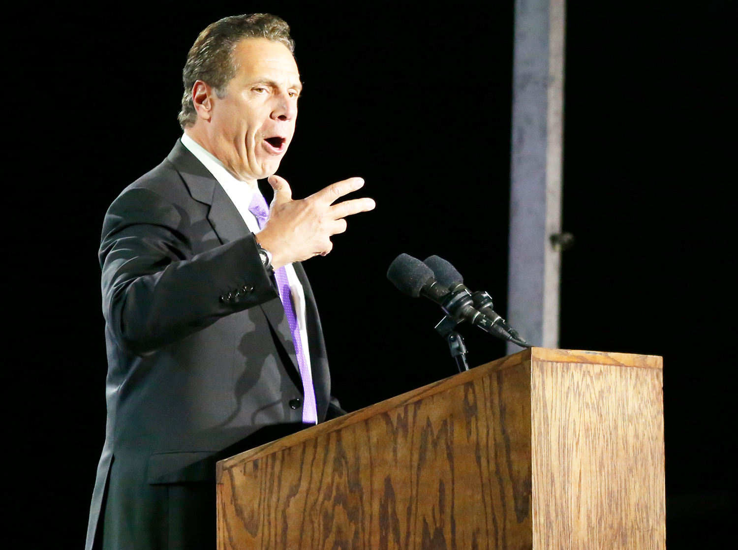 Andrew Cuomo speaks in support of Democratic presidential nominee Hillary Clinton during election night outside the Jacob K. Javits Convention Center in New York on November 8, 2016.