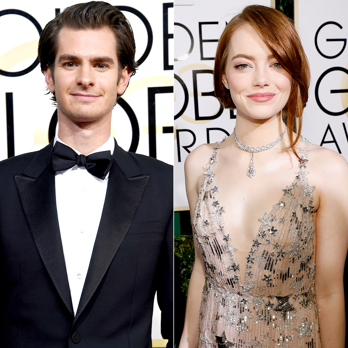 Andrew Garfield and Emma Stone attend the 74th Annual Golden Globe Awards.