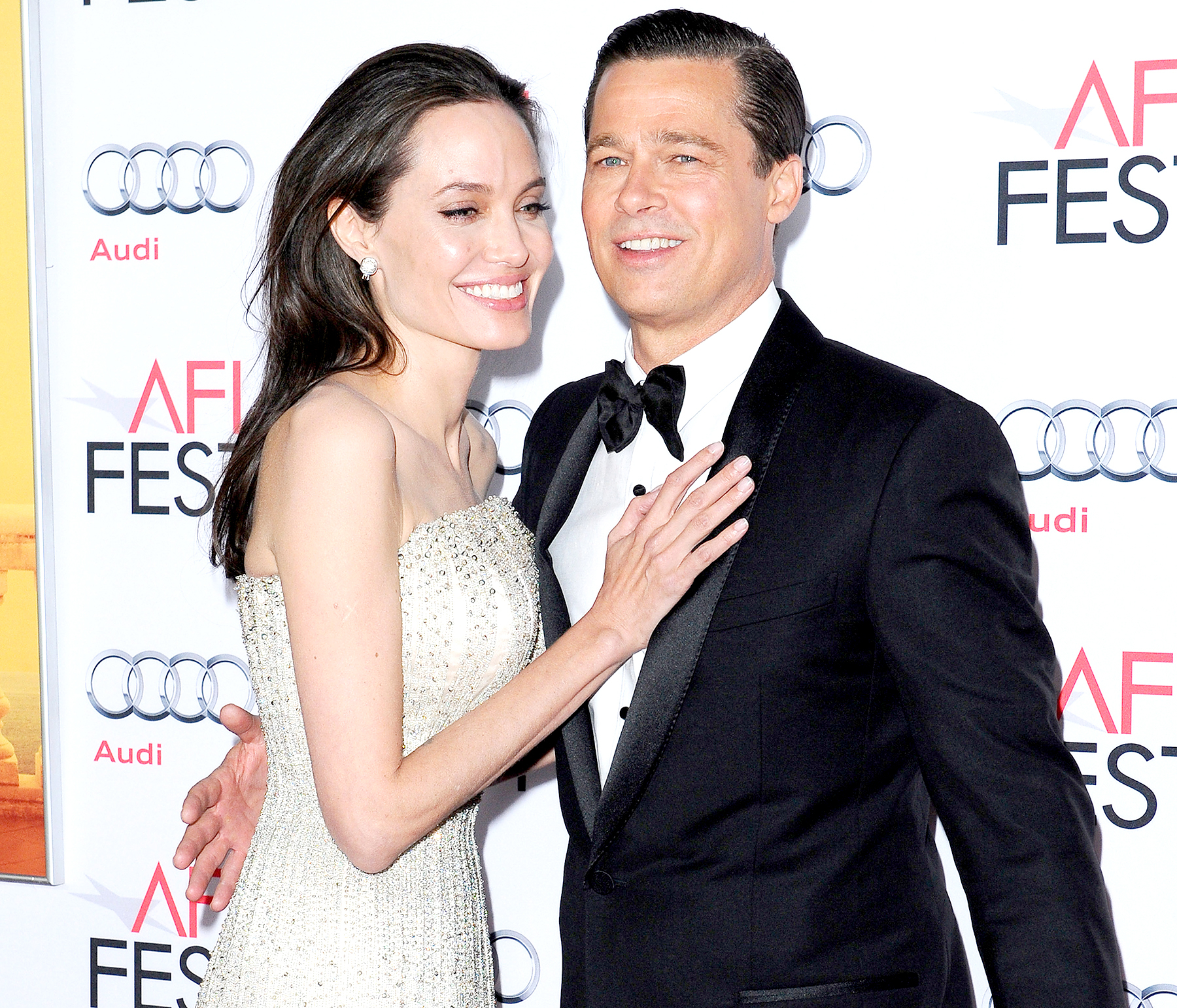 Angelina Jolie and Brad Pitt arrive at the AFI FEST 2015 presented by Audi Opening Night Gala Premiere of Universal Pictures' 'By The Sea' at TCL Chinese 6 Theatres on November 5, 2015 in Hollywood, California.