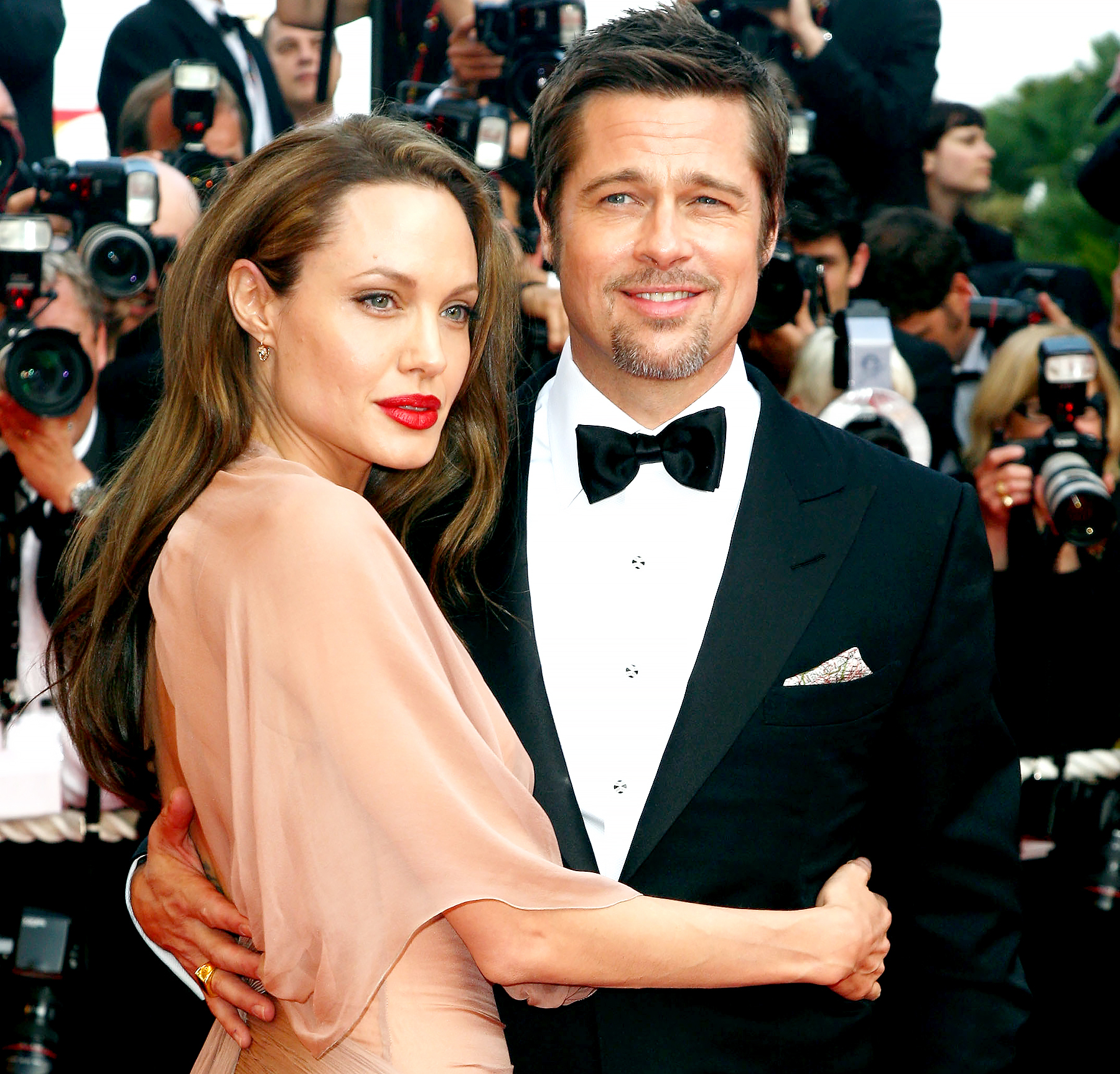 Brad Pitt and Angelina Jolie attend the Inglourious Basterds Premiere held at the Palais Des Festivals during the 62nd International Cannes Film Festival on May 20th, 2009 in Cannes, France.
