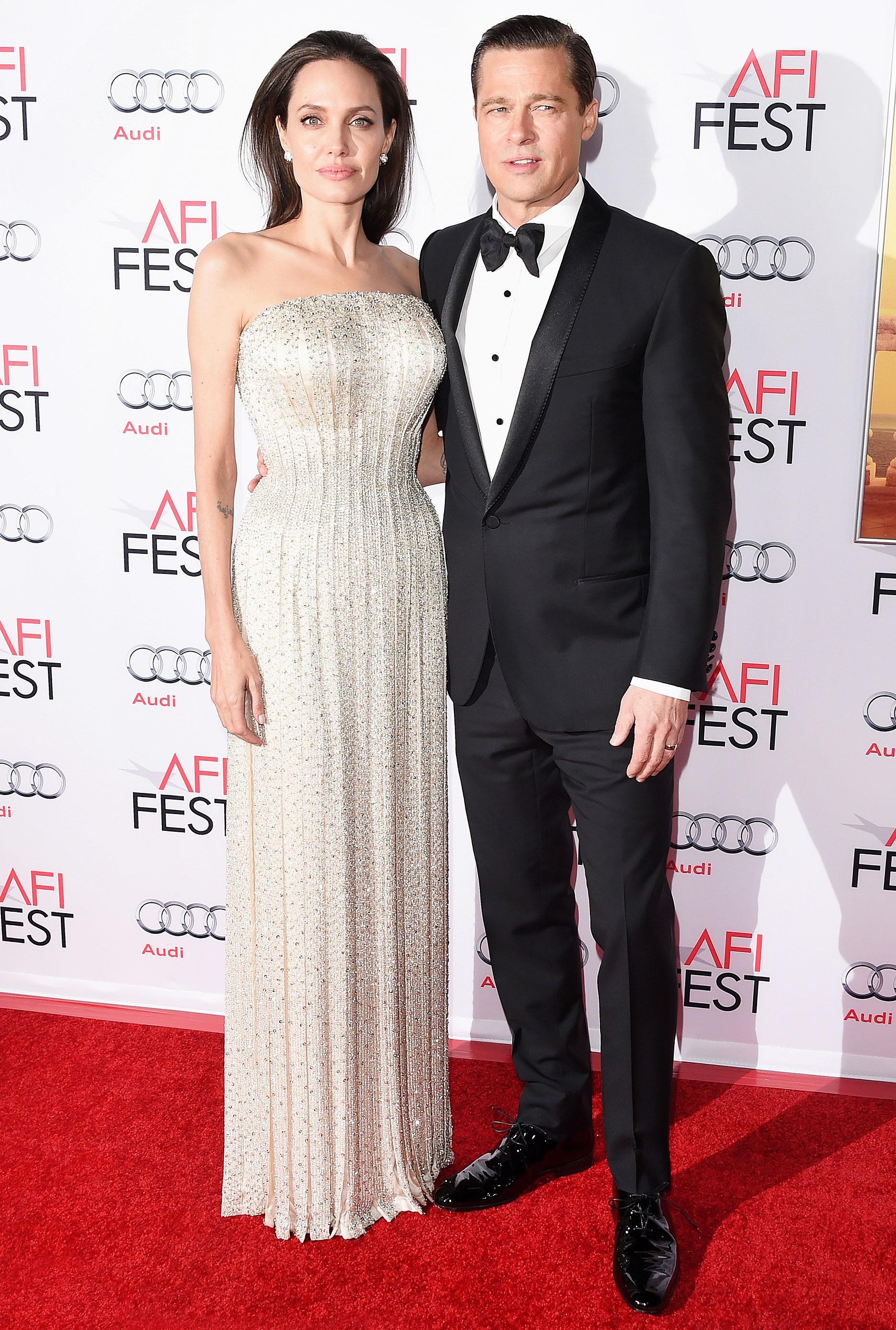 See Brangelinas Last Red Carpet Appearance In 2015 Jolie Clothing Dakota Long Dress Angelina And Brad Pitt