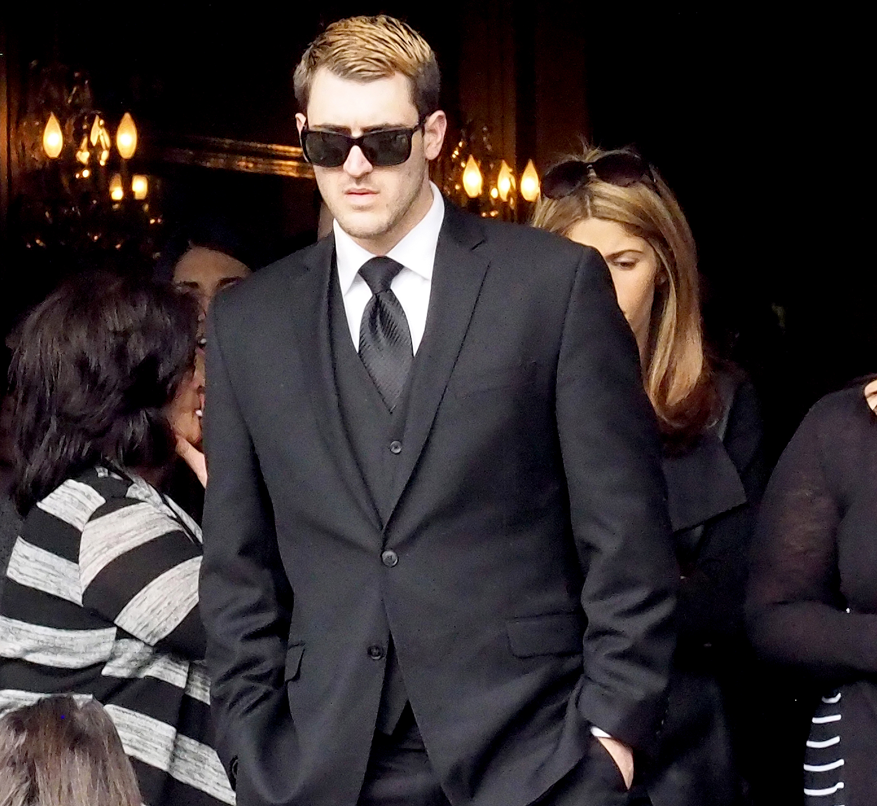 Anthony 'AJ' D'Onofrio, Angela 'Big Ang' Raiola's son seen at the memorial service held for her on February 21, 2016, in New York City.