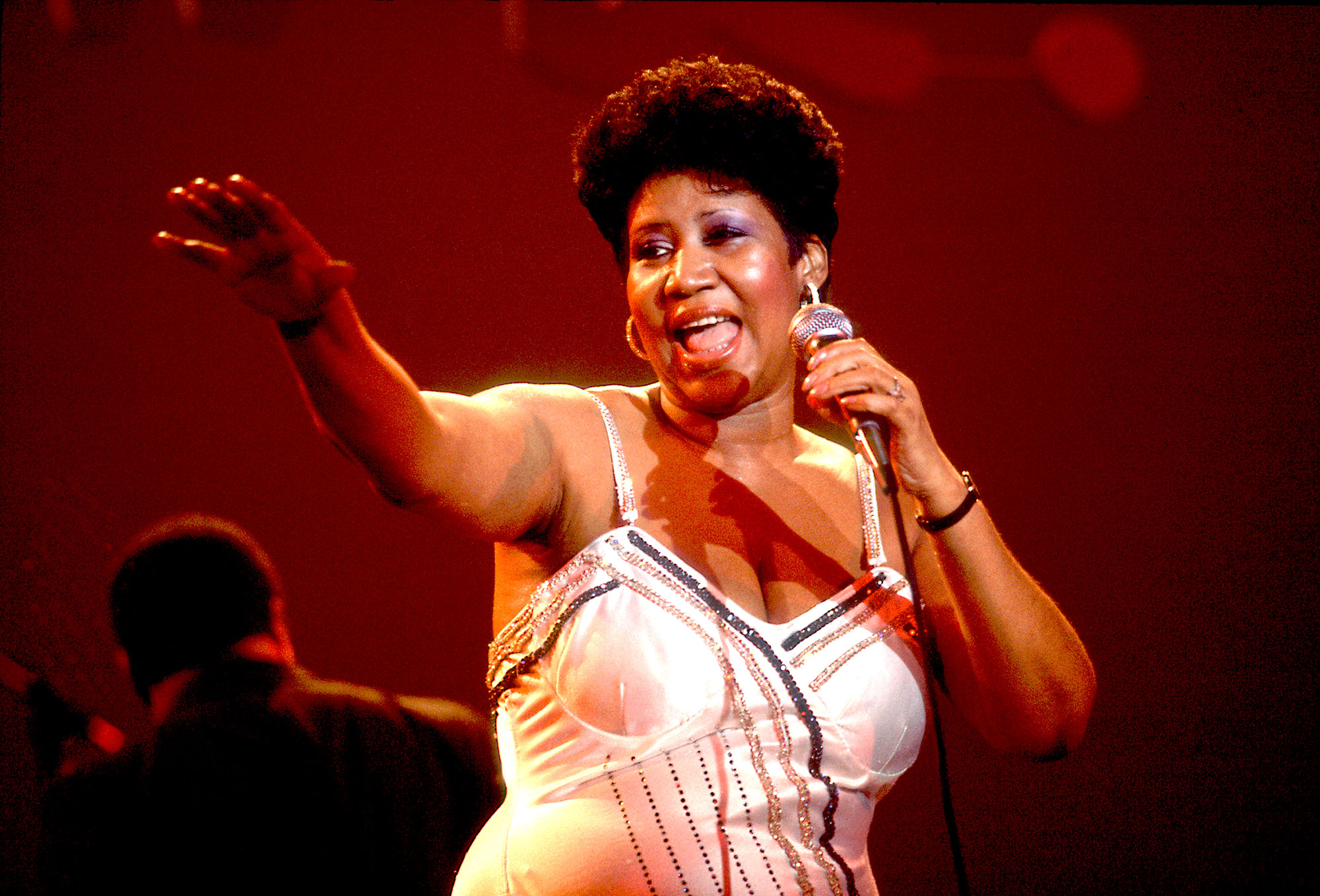 American musician Aretha Franklin performs on stage at the Park West Auditorium, Chicago, Illinois, March 23, 1992.
