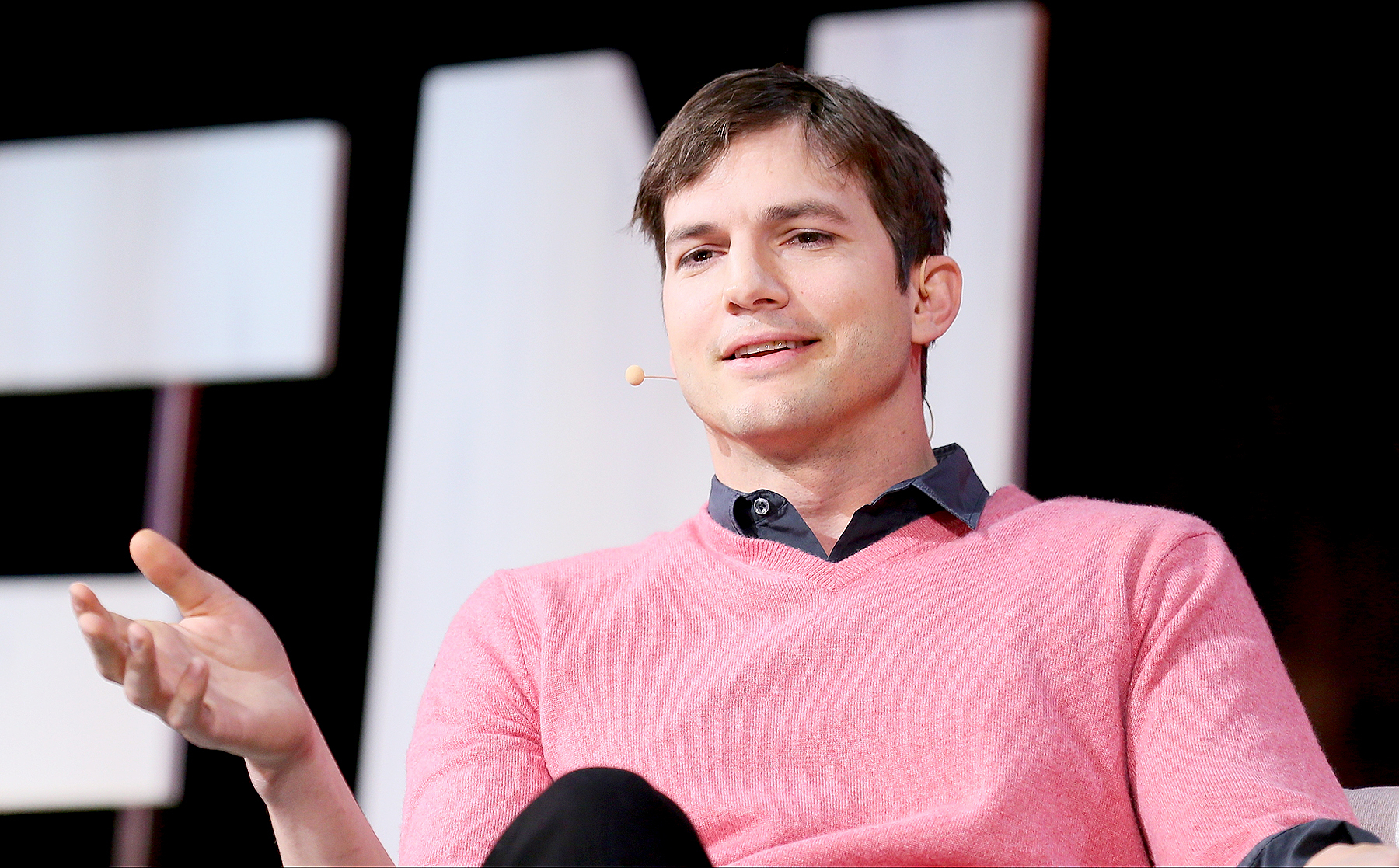 Ashton Kutcher speaks onstage at the 3rd Annual Airbnb Open Spotlight at the Orpheum on Nov. 19, 2016, in Los Angeles.