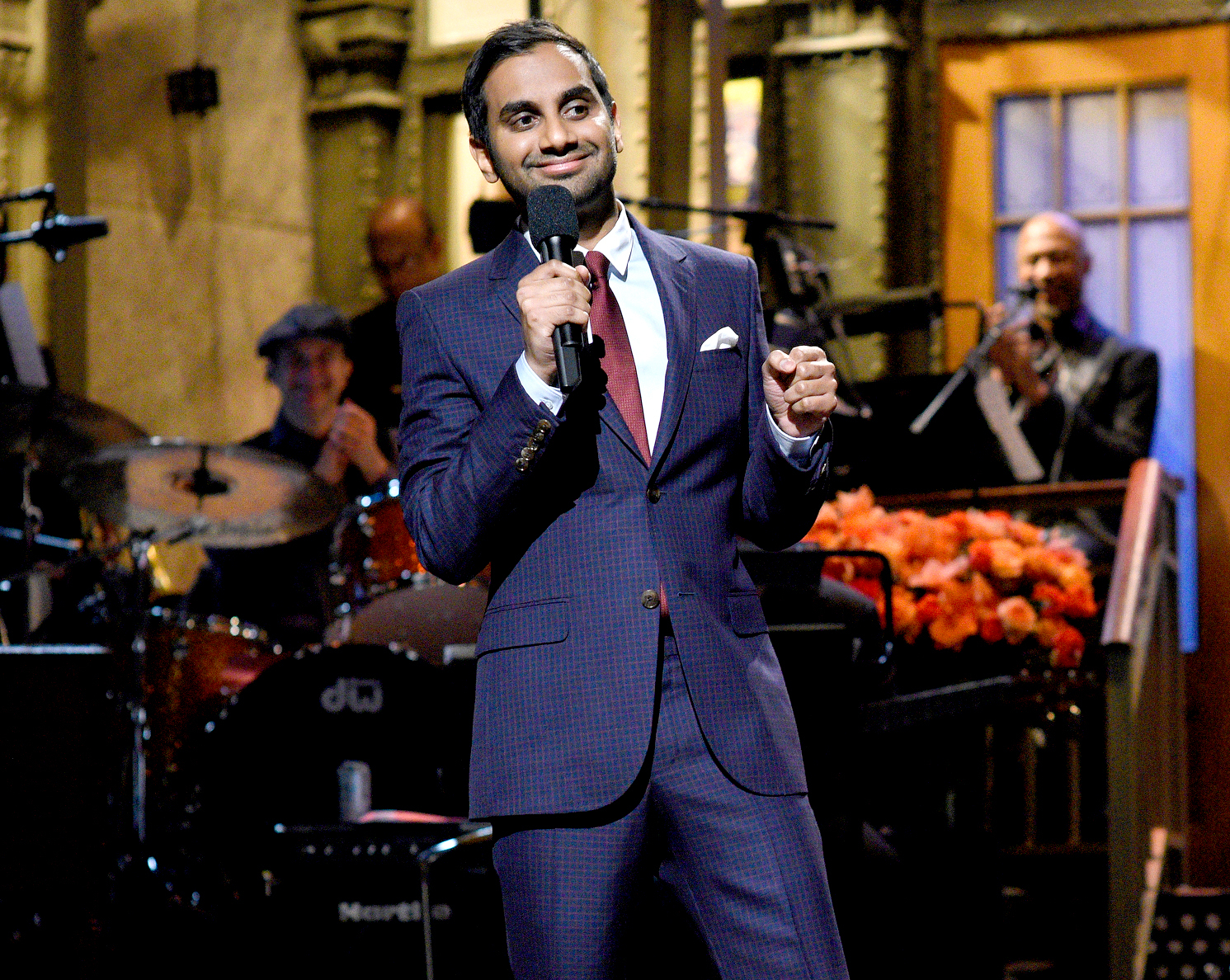 Host Aziz Ansari during the stand-up monologue on Jan. 21, 2017.