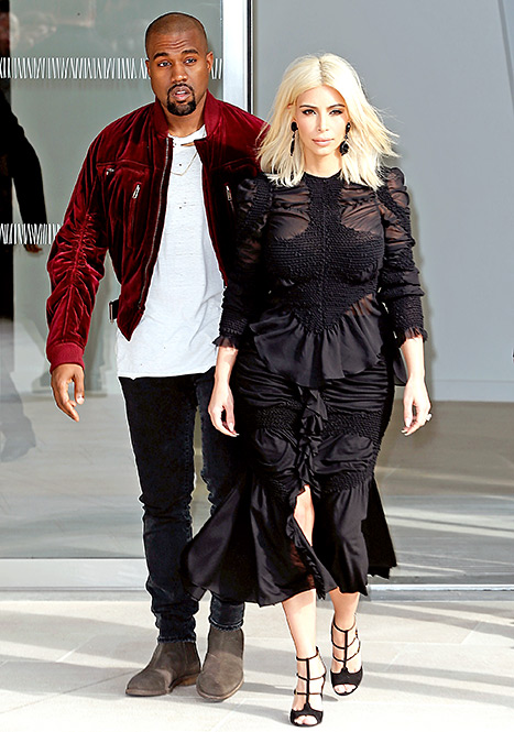 Kanye West and Kim Kardashian - Louis Vuitton Show